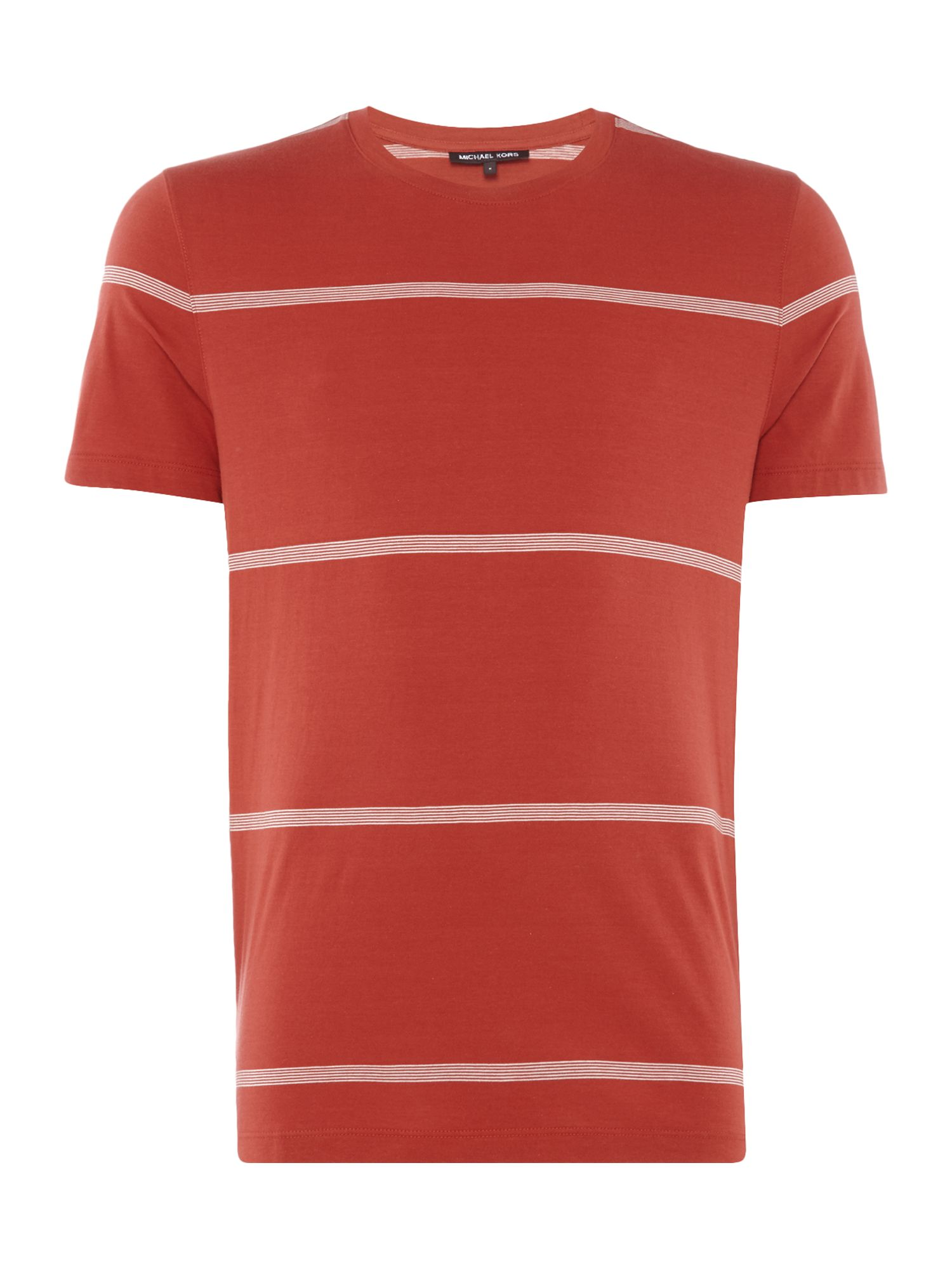 Men's Michael Kors Nautical Striped Crew Neck T-Shirt, Baked Red