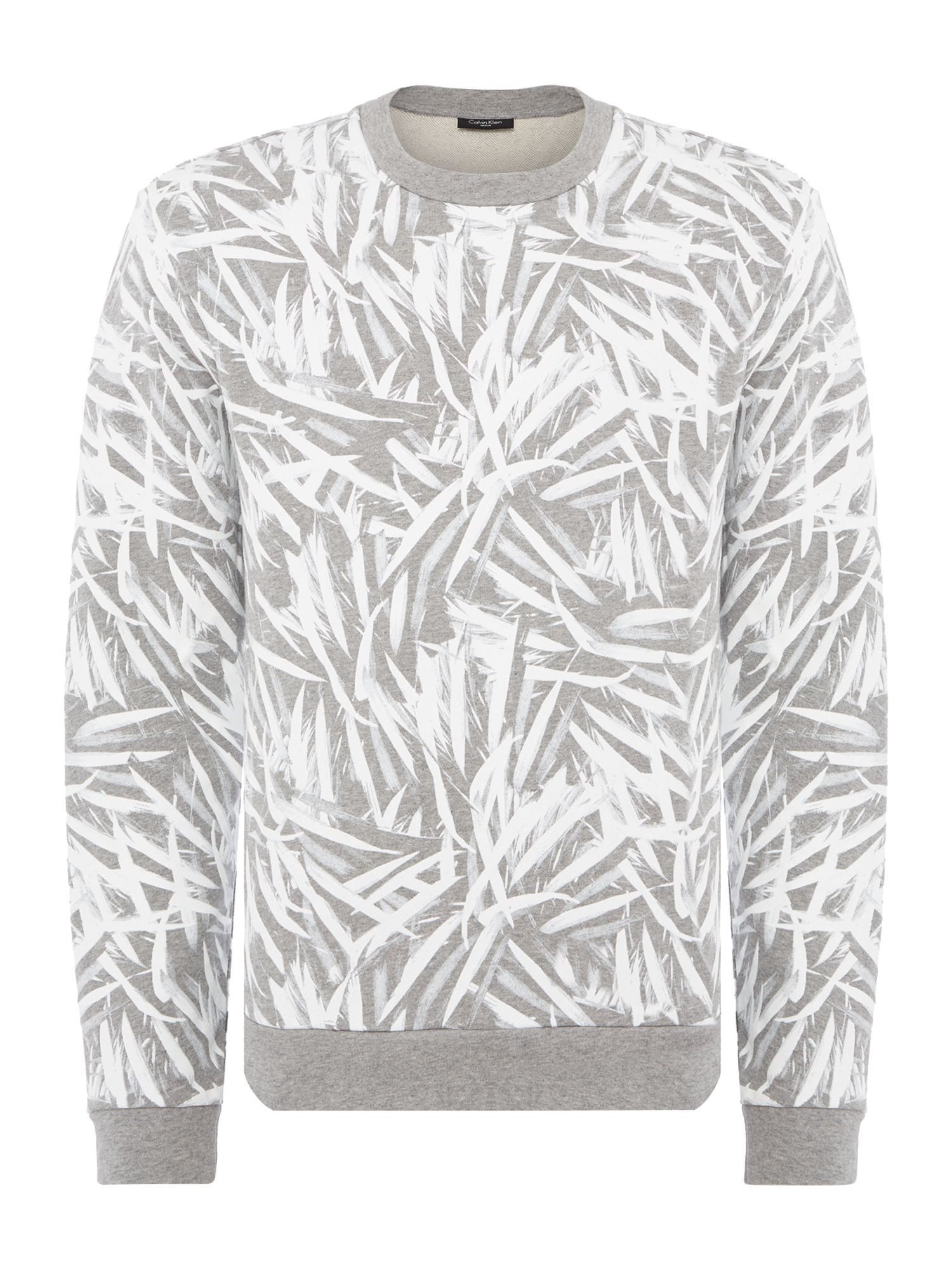 Men's Calvin Klein Kally Leaf Print Sweatshirt, Mid Grey