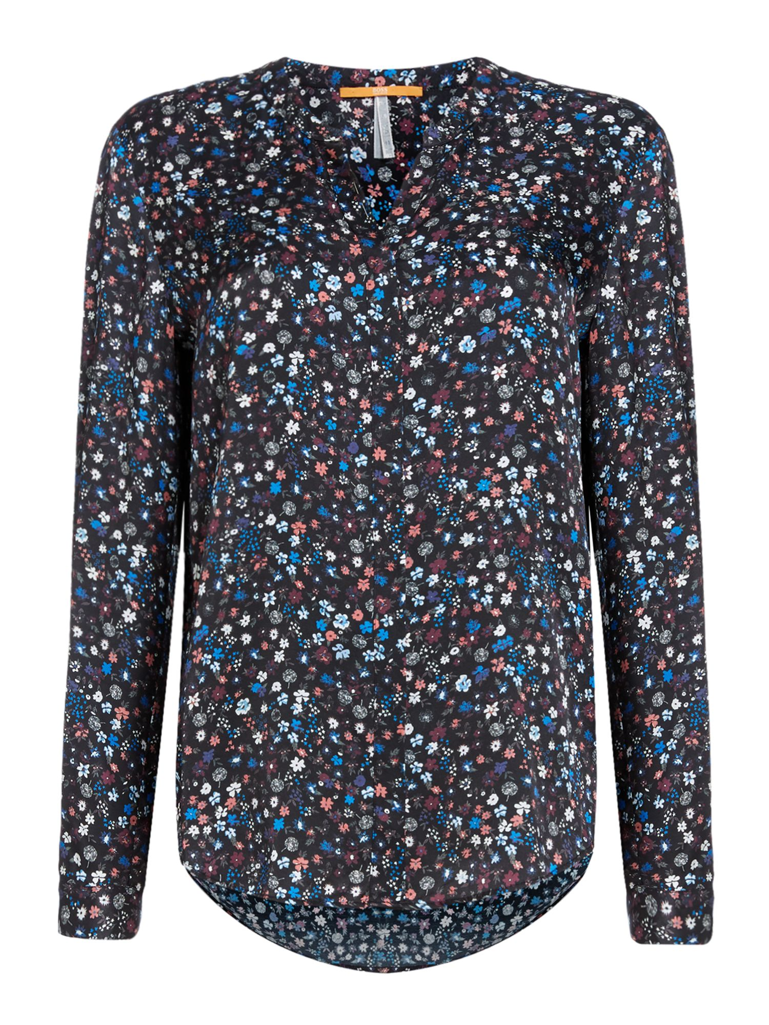 Hugo Boss Efelize long sleeve button up printed top, Multi-Coloured