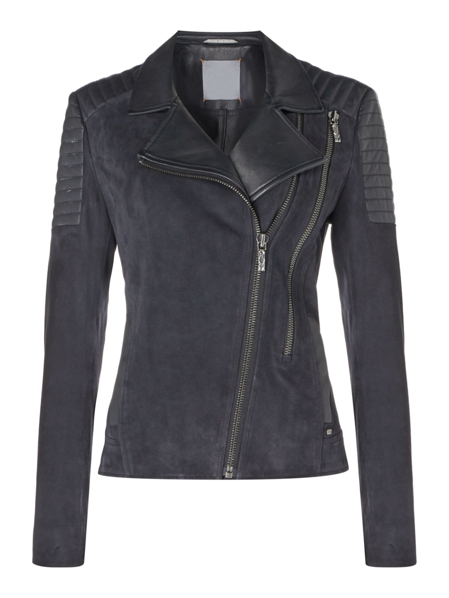 Hugo Boss Jamela 3 Leather Zip Jacket in Dark Blue, Dark Blue