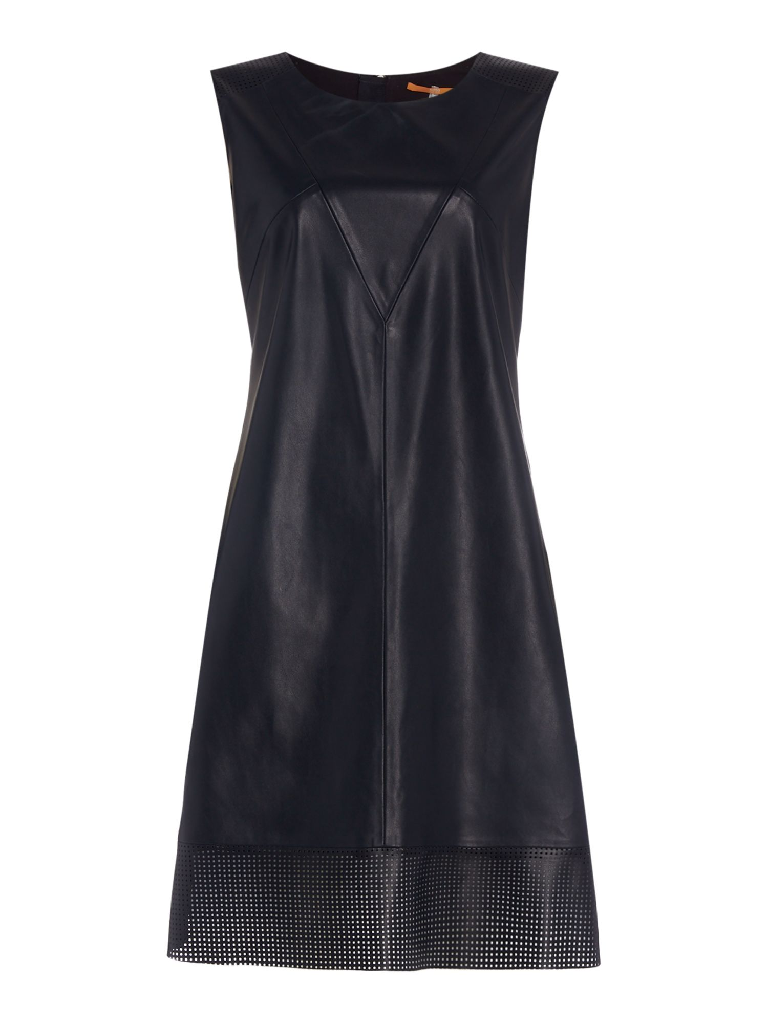 Hugo Boss Aswedy Crew Neck Shift Dress in Dark Blue, Dark Blue