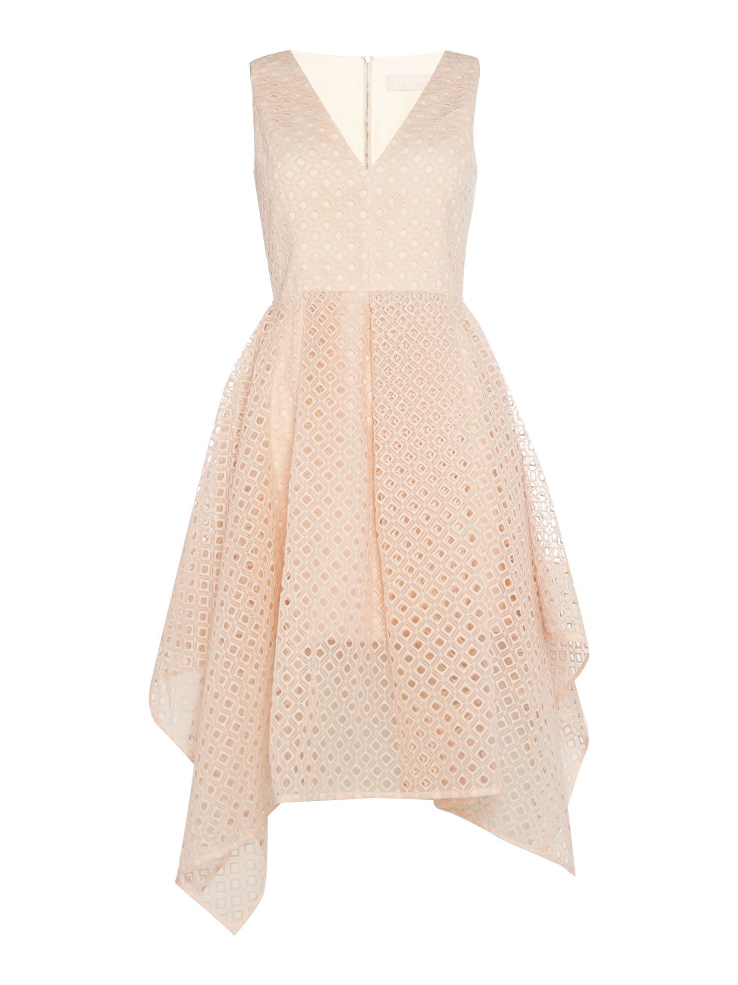 Keepsake Mini frilly fit and flare dress, Peach