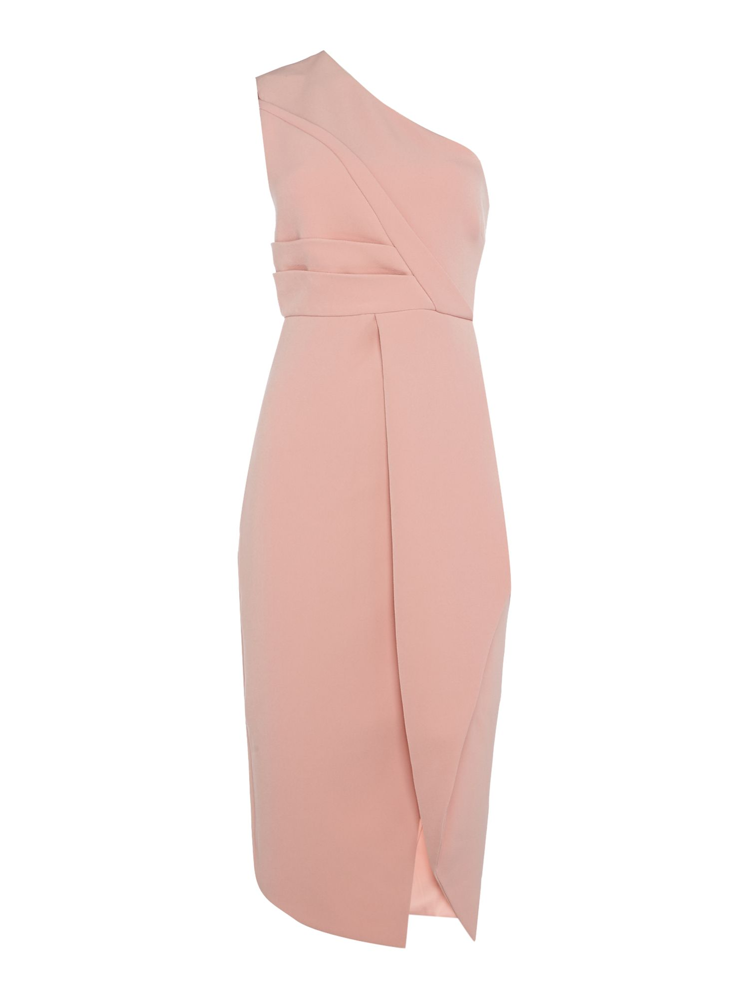Keepsake One shoulder pleated shift dress, Pink