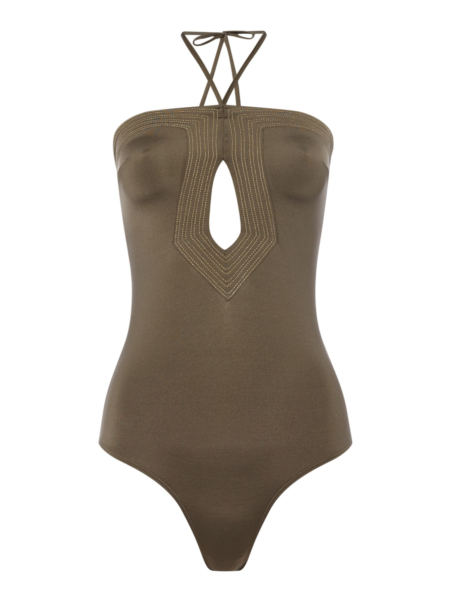 Huit Strapless swimsuit, Khaki