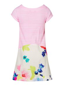 Joules Girls A Line Stripe and Floral Print Dress