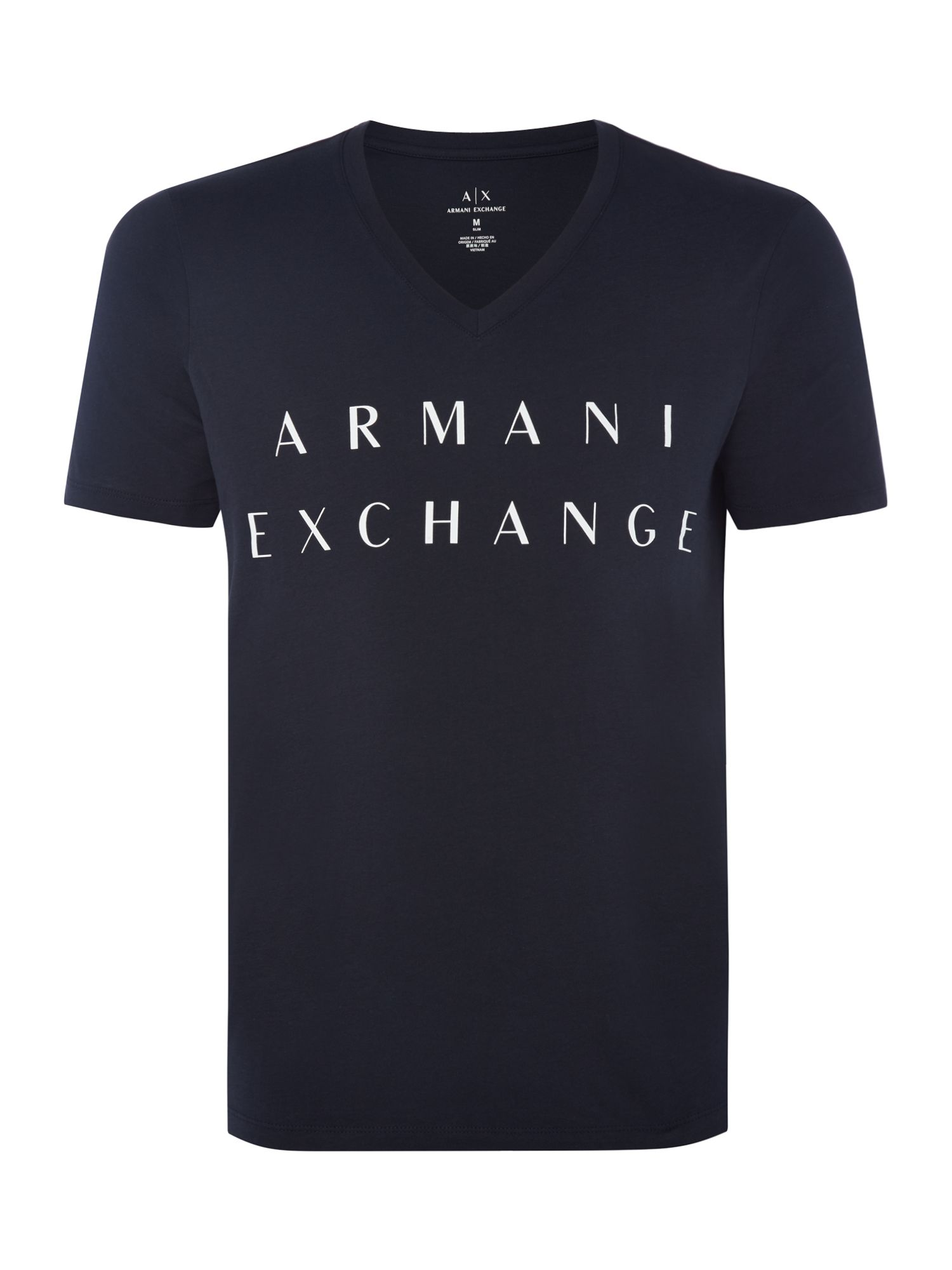 Men's Armani Exchange V-Neck AX Logo Tshirt, Blue