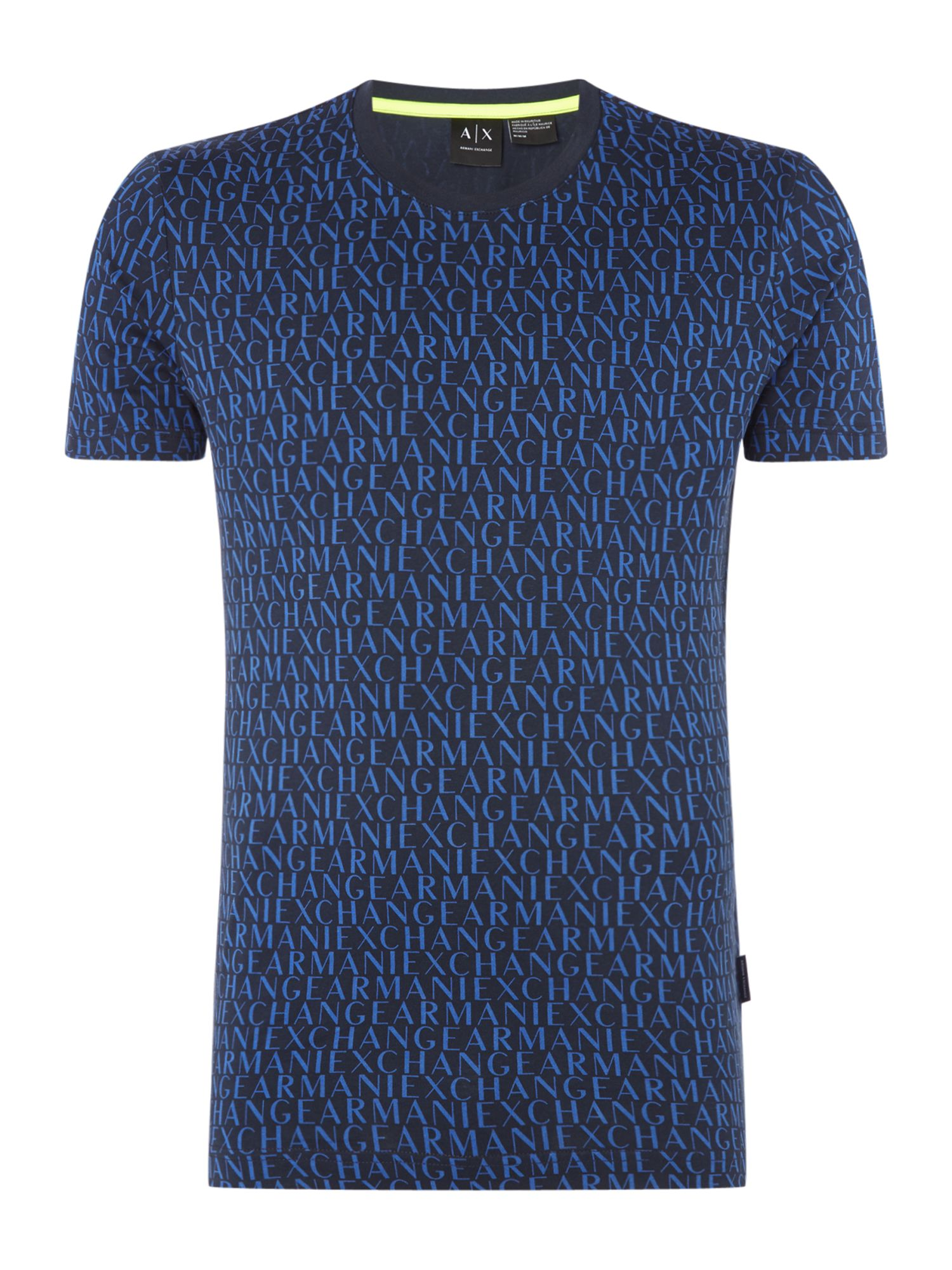 Men's Armani Exchange All Over Logo Print Tshirt, Blue