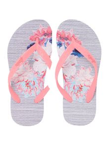 Joules Girls Striped Floral Flip Flop