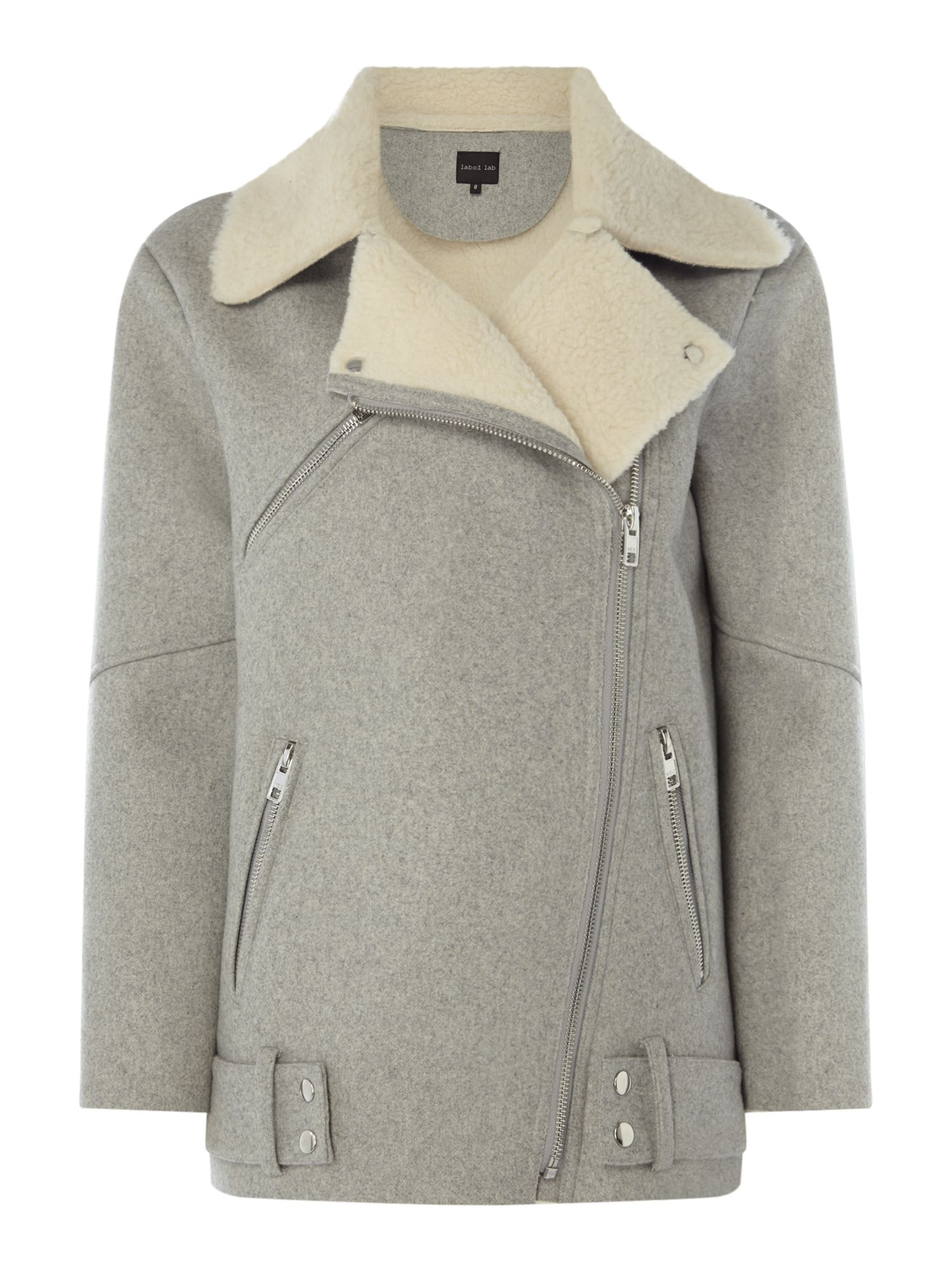 Label Lab Talin Faux Shearling Jacket, Grey