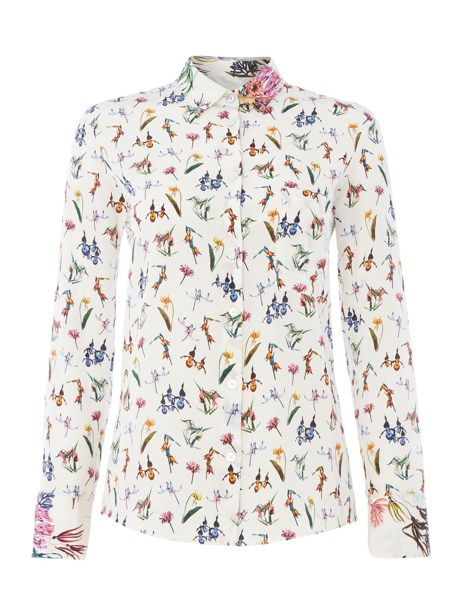 PS By Paul Smith Floral Marine White Shirt Cuff, White