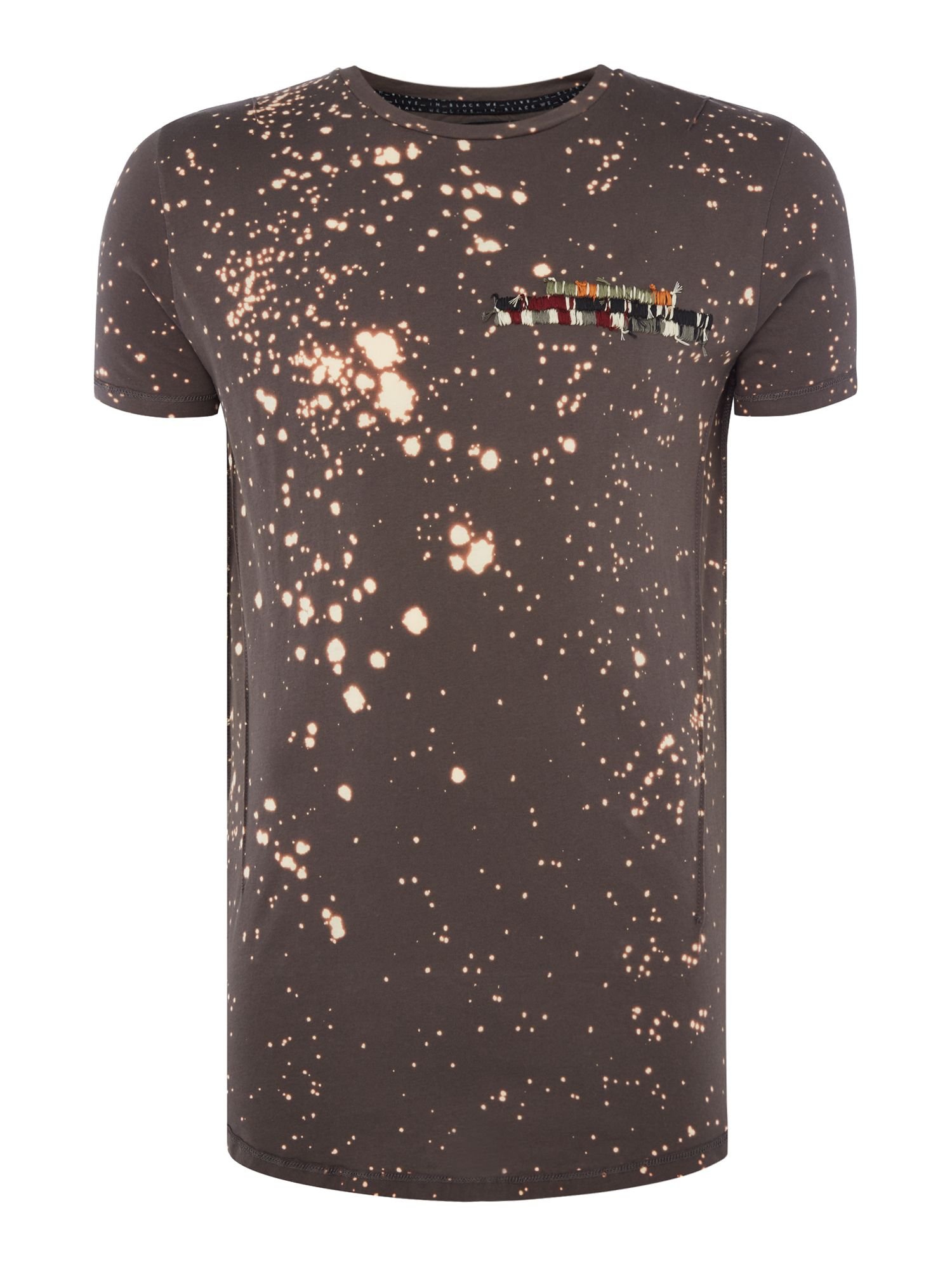Men's Religion Bleach Splatter Short Sleeve T-Shirt, Black