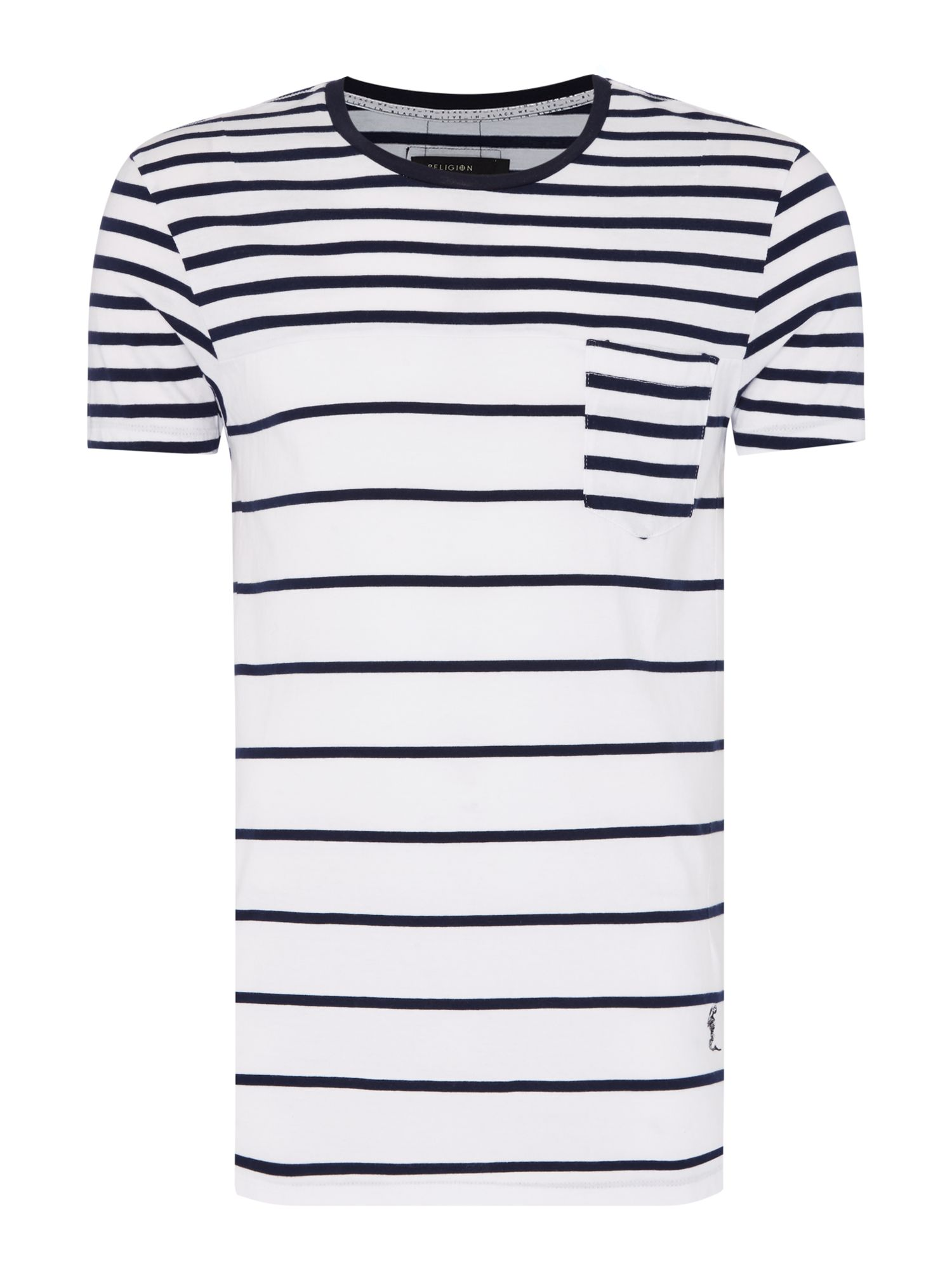 Men's Religion Striped Pocket Detail T-Shirt, White
