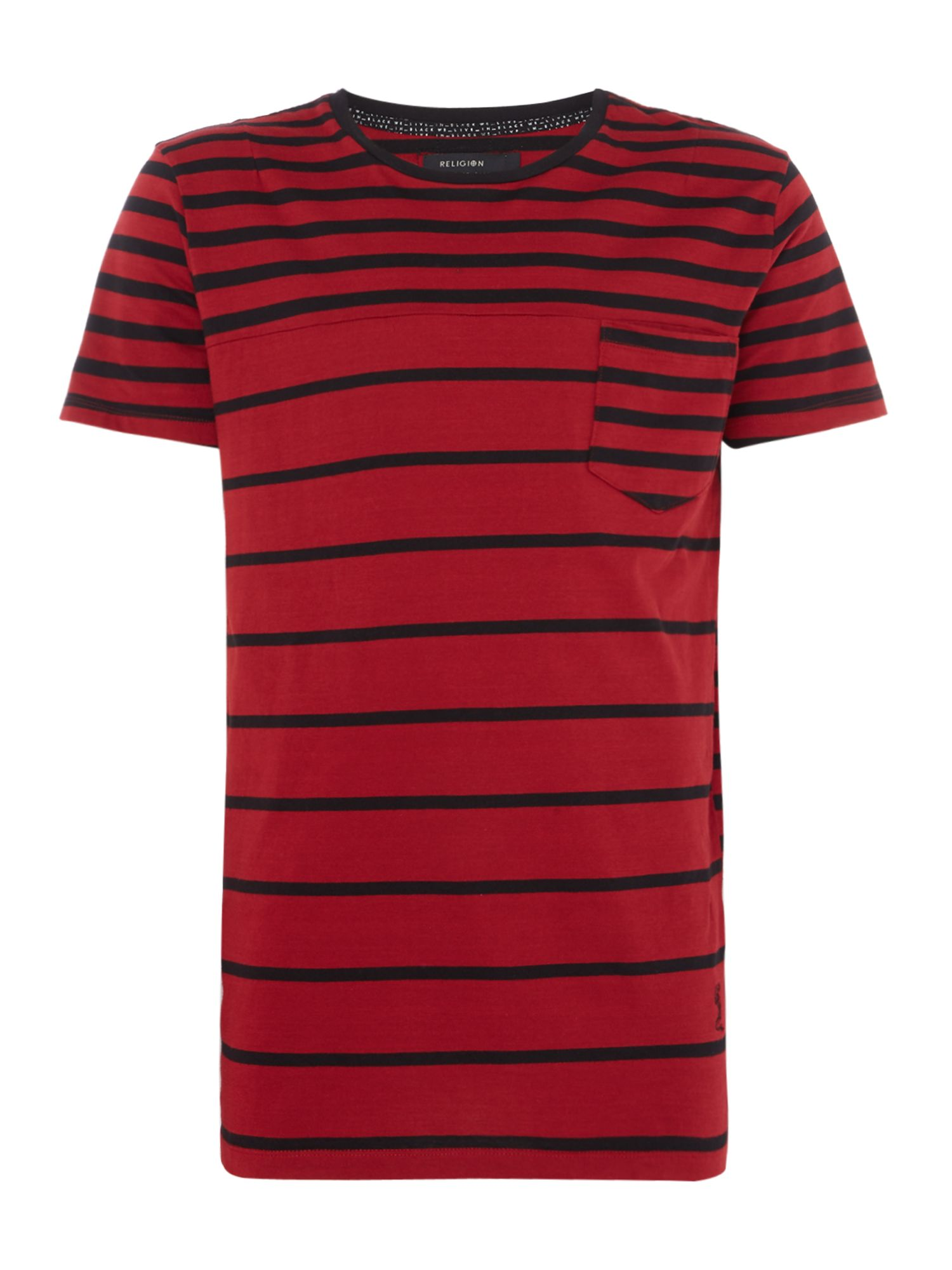 Men's Religion Striped Pocket Detail T-Shirt, Red
