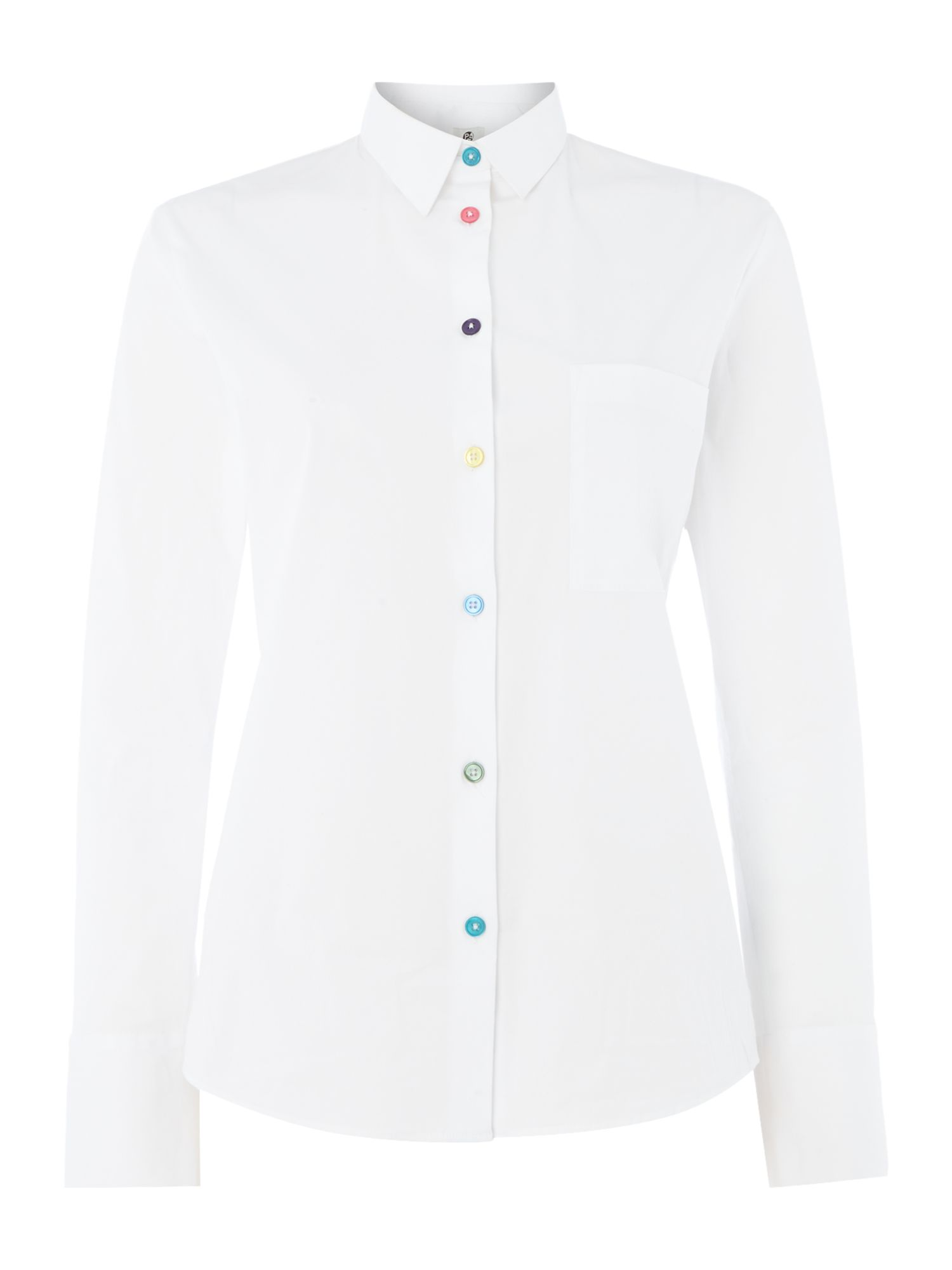 PS By Paul Smith Multi Coloured Button Shirt, White