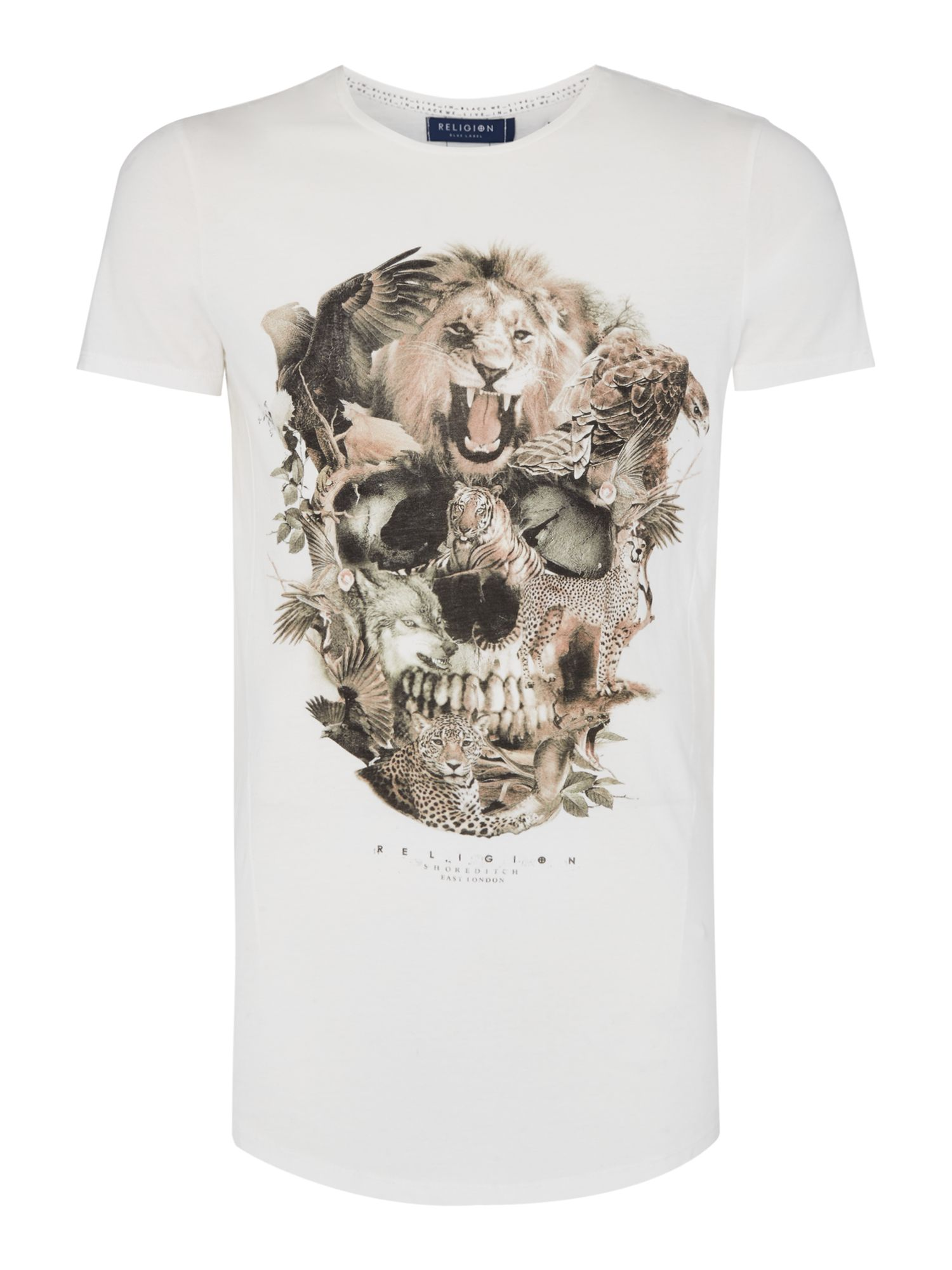 Mens Religion Animal Skull TShirt White