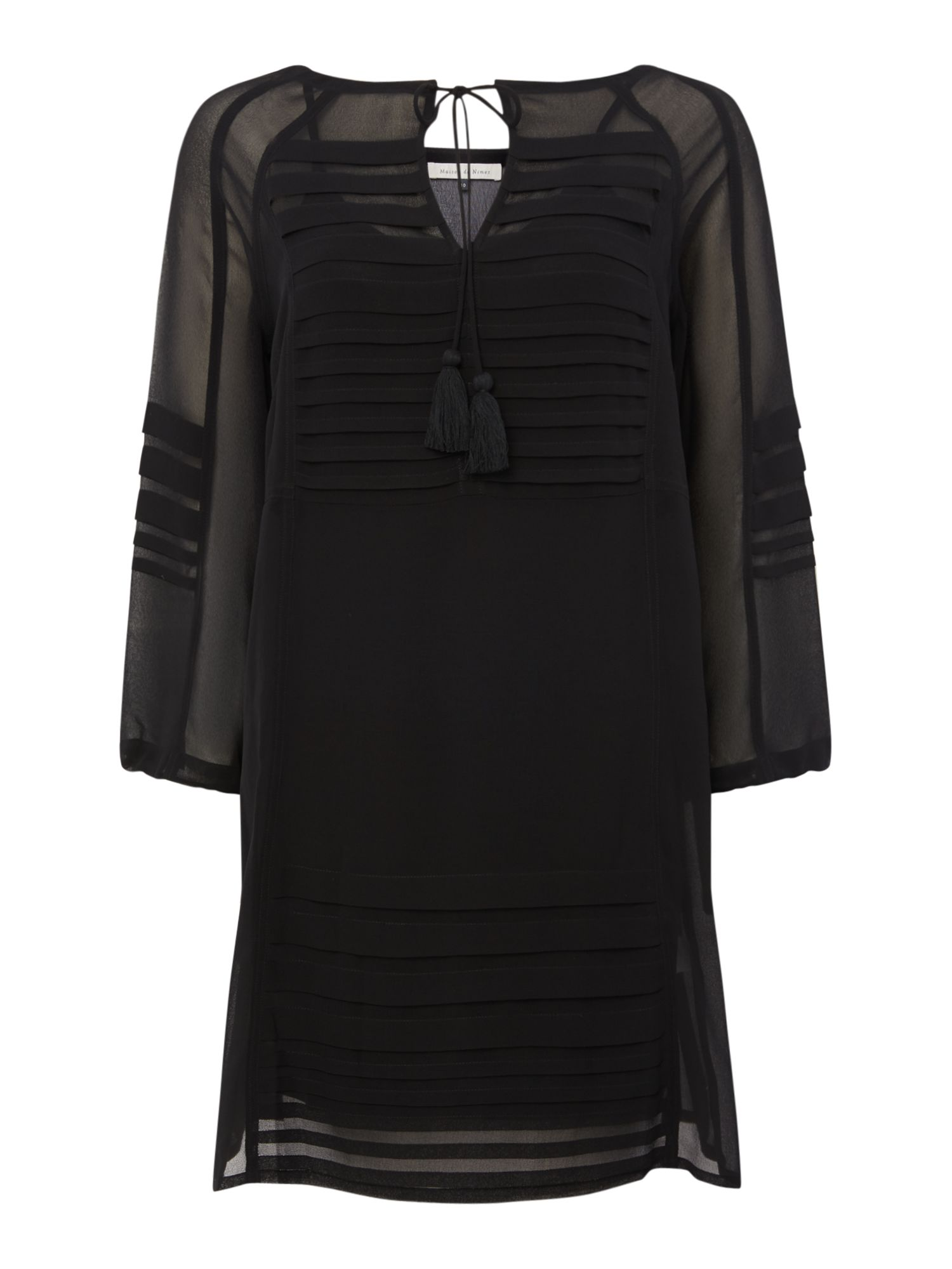 Maison De Nimes Pleated Peasant Dress, Black