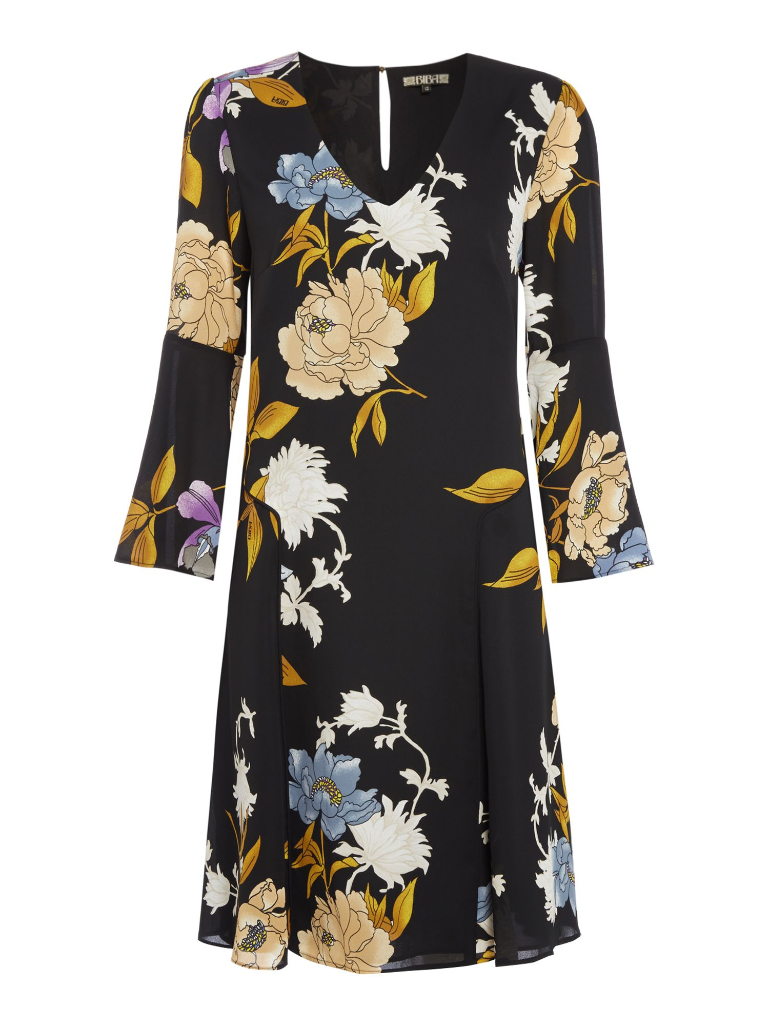 Biba Printed floral fluted sleeve dress, Multi-Coloured