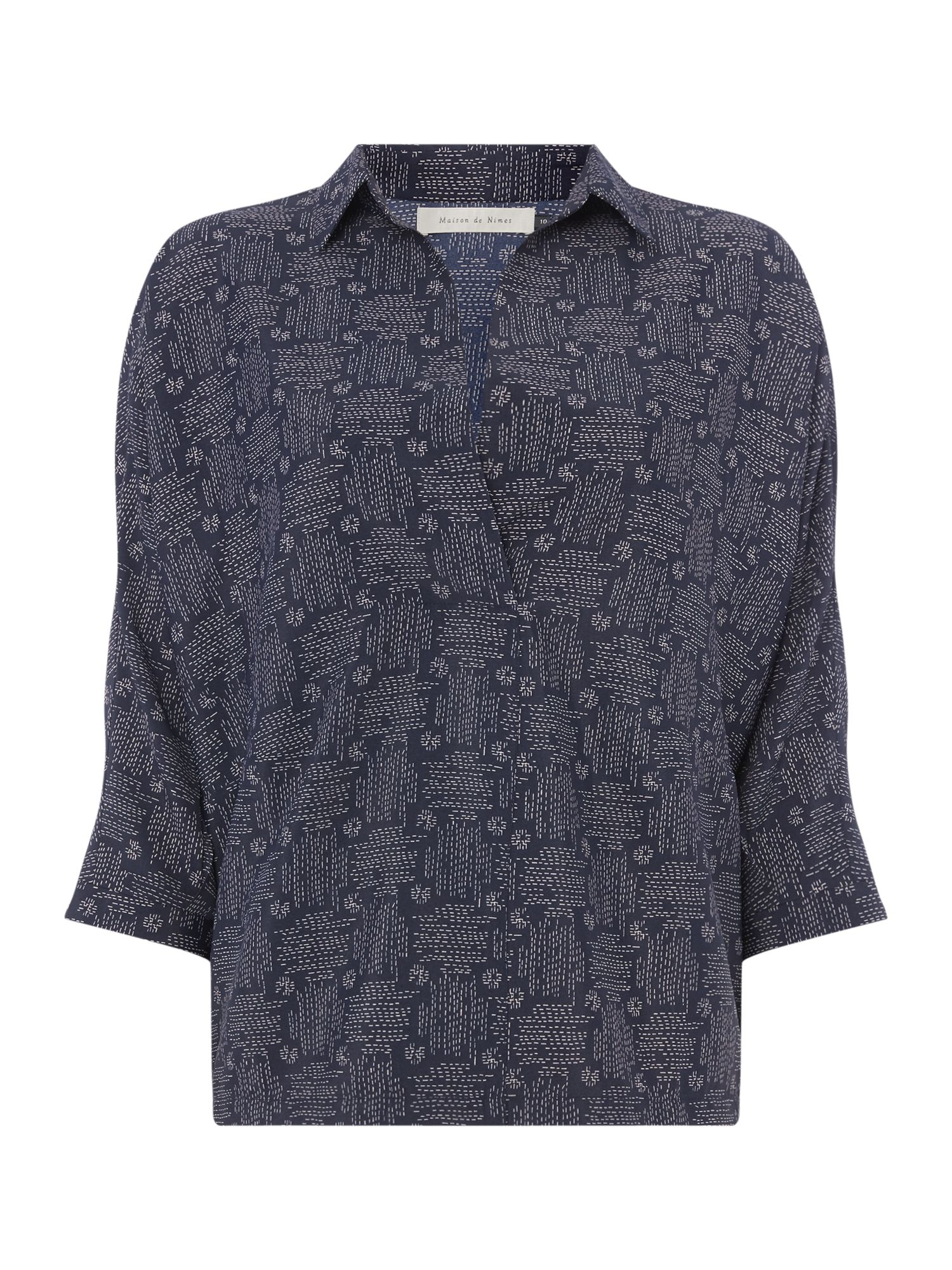 Maison De Nimes Cross hatch print pleat shirt, Stone