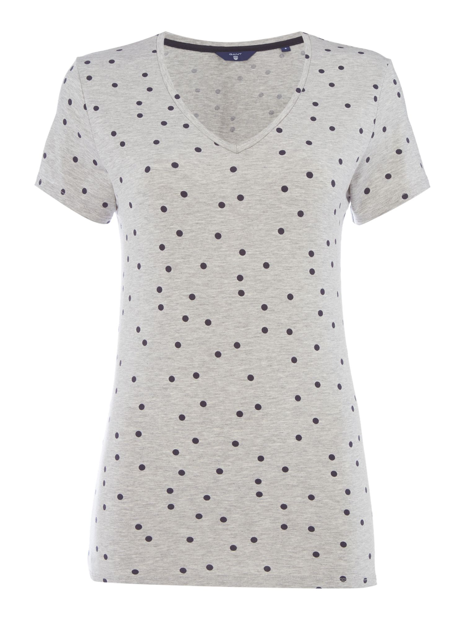 Gant Dotted fluid v-neck t-shirt, Light Grey