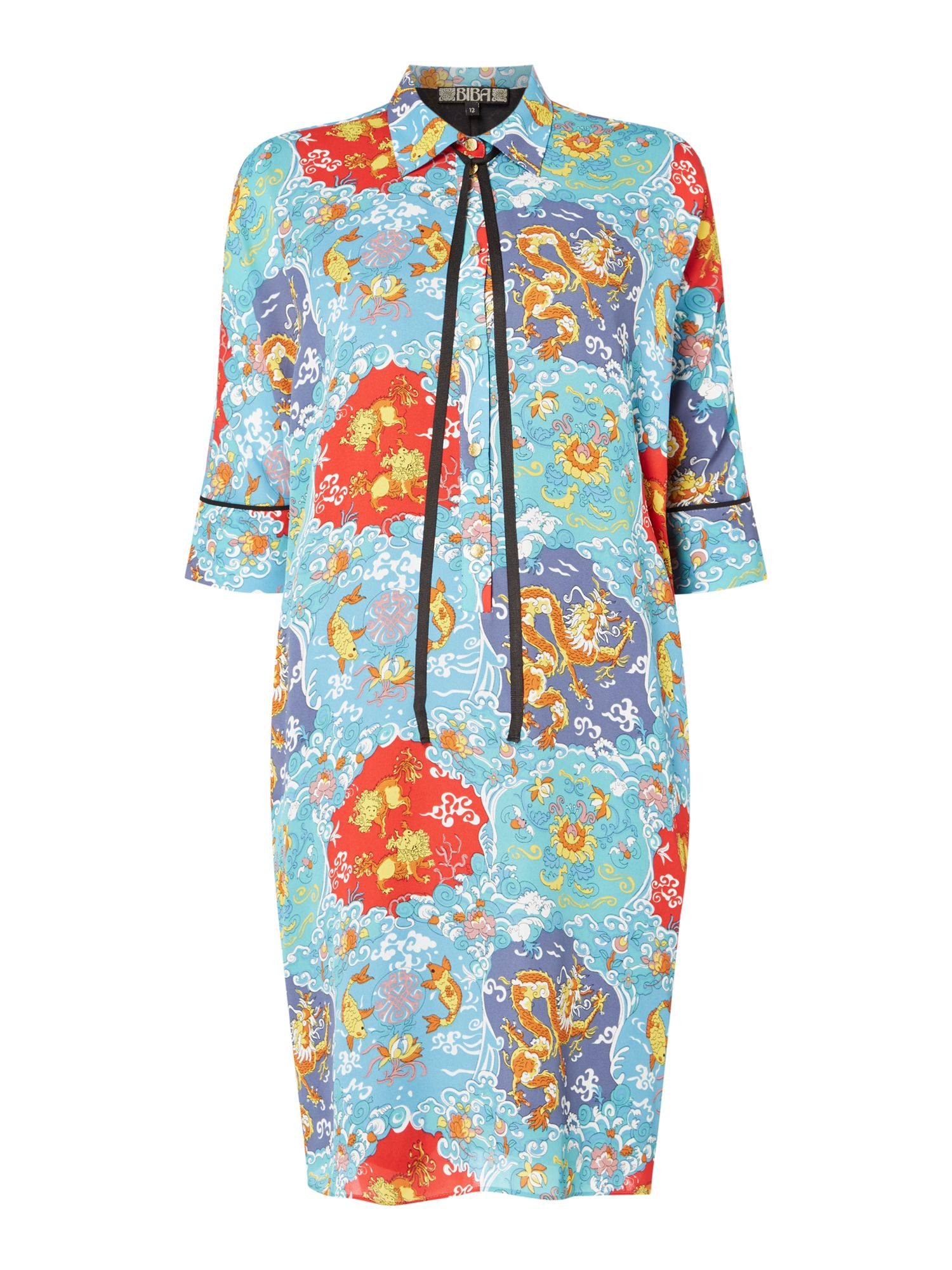 Biba Tokyo print volume tie neck dress, Multi-Coloured