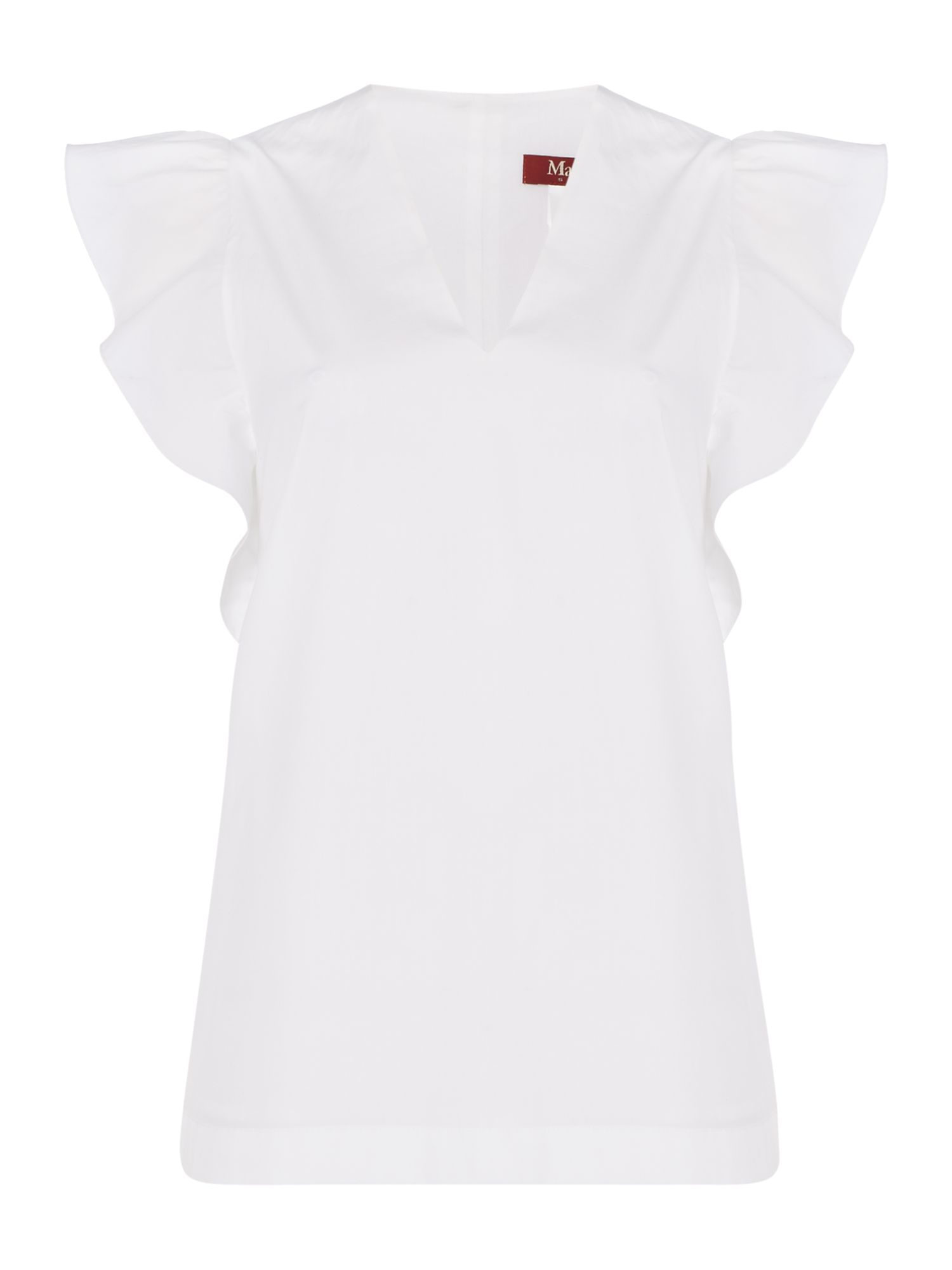 Max Mara Studio Libro ruffle sleeve v neck cotton blouse, White