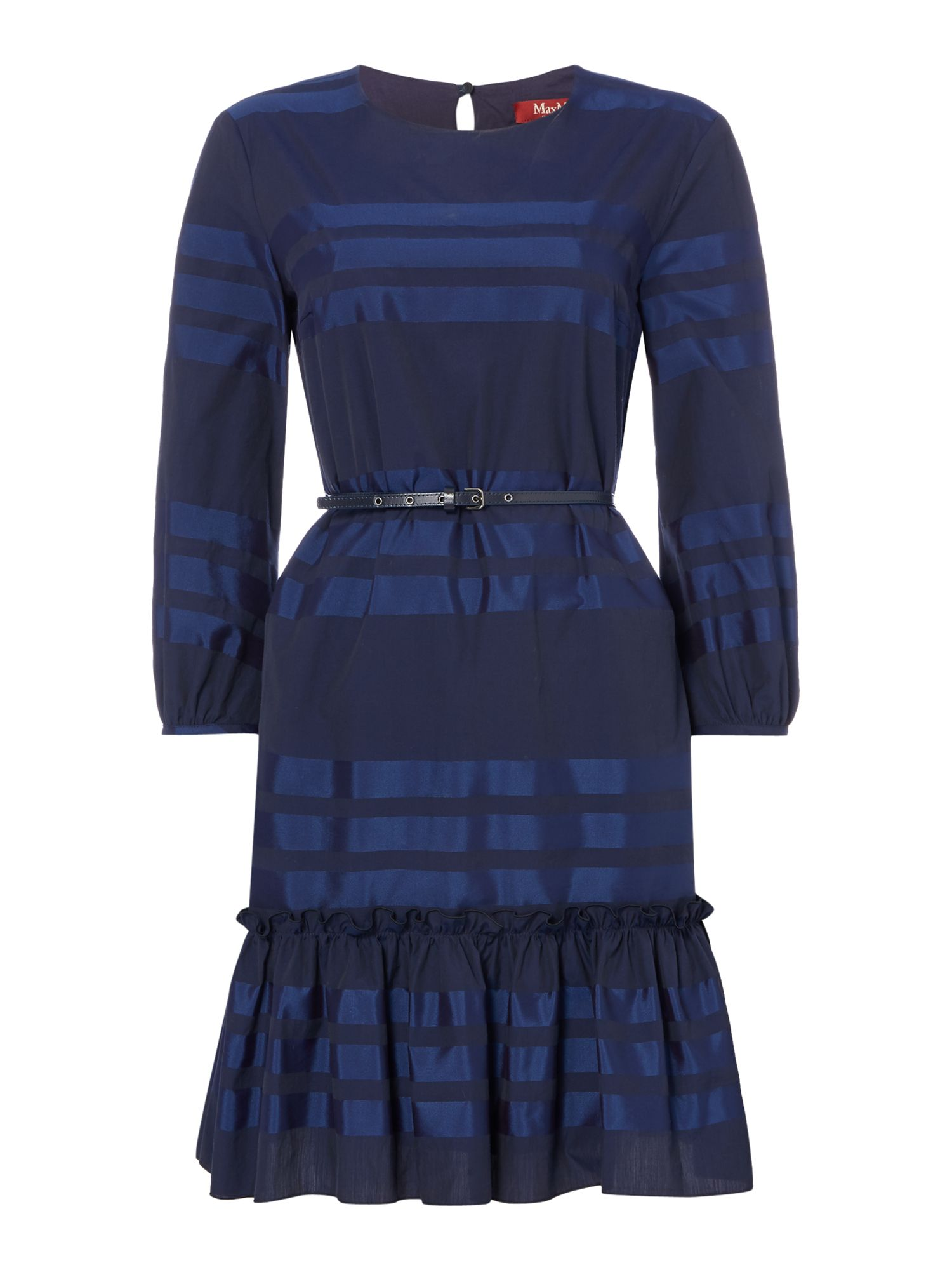 Max Mara Studio Gabon stripe long sleeve dress with ruffle detail, Blue