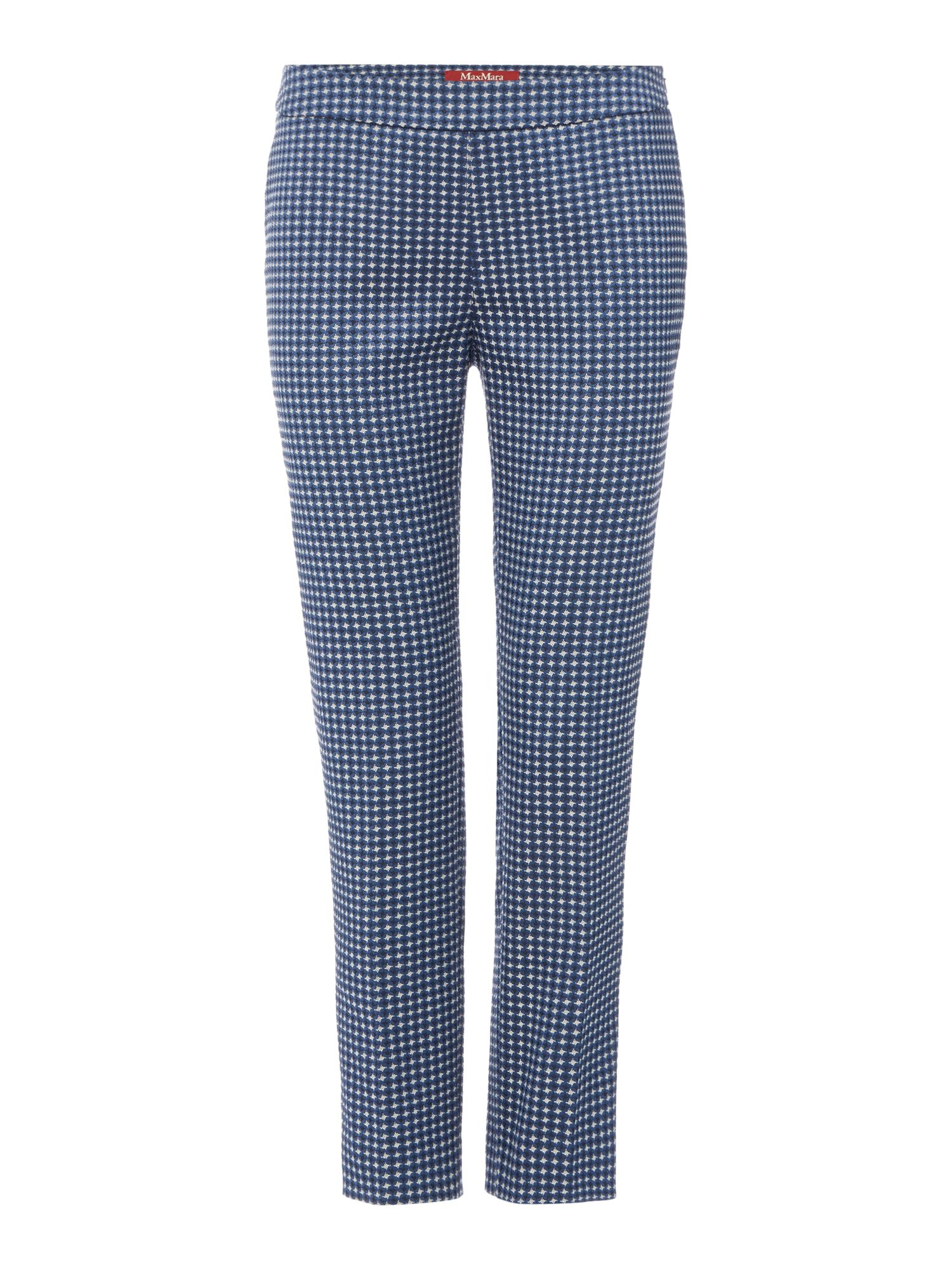 Max Mara Studio Lerici navy printed slim fit trouser, Blue