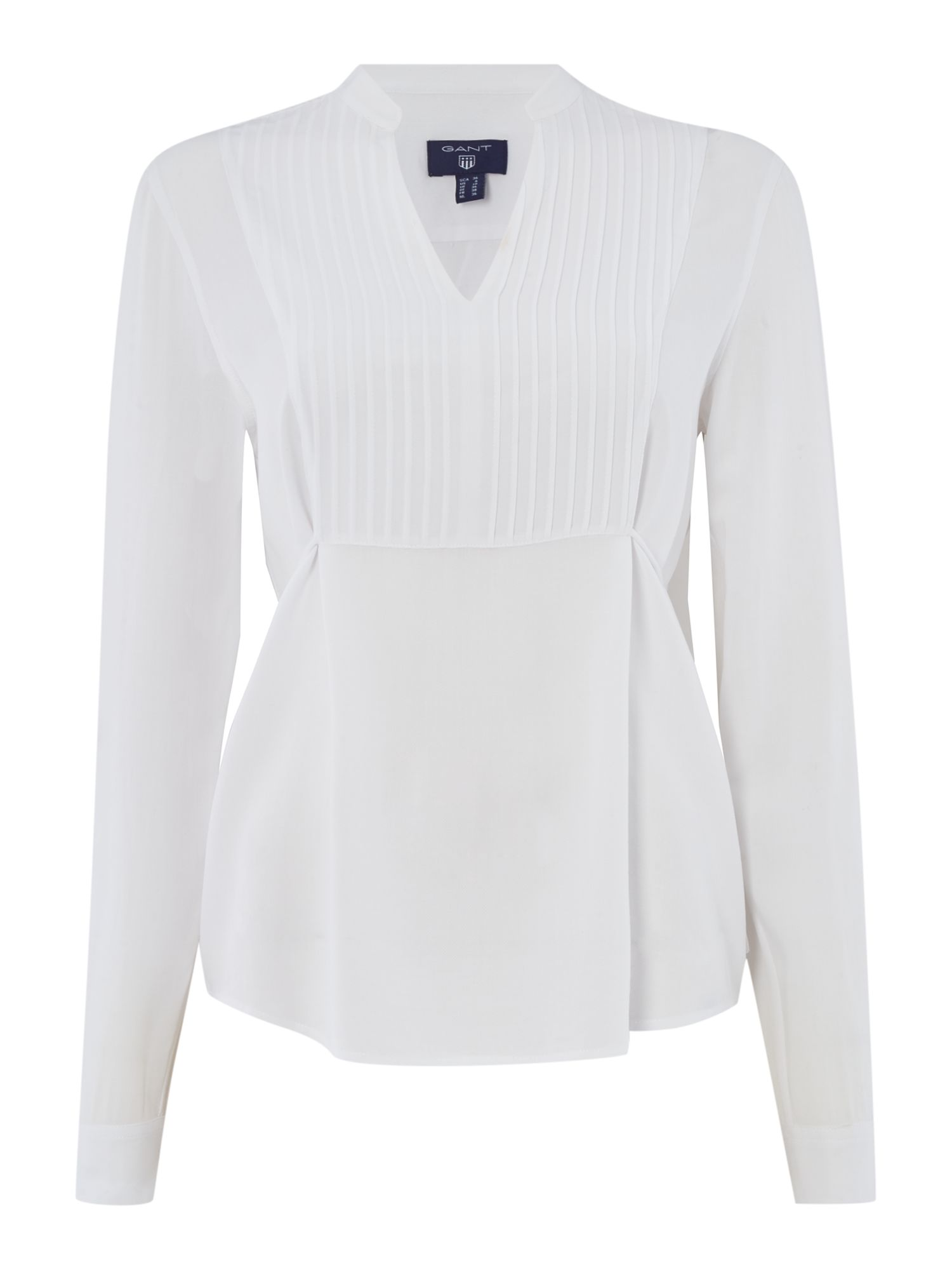 Gant Wonven pleated bib blouse, White