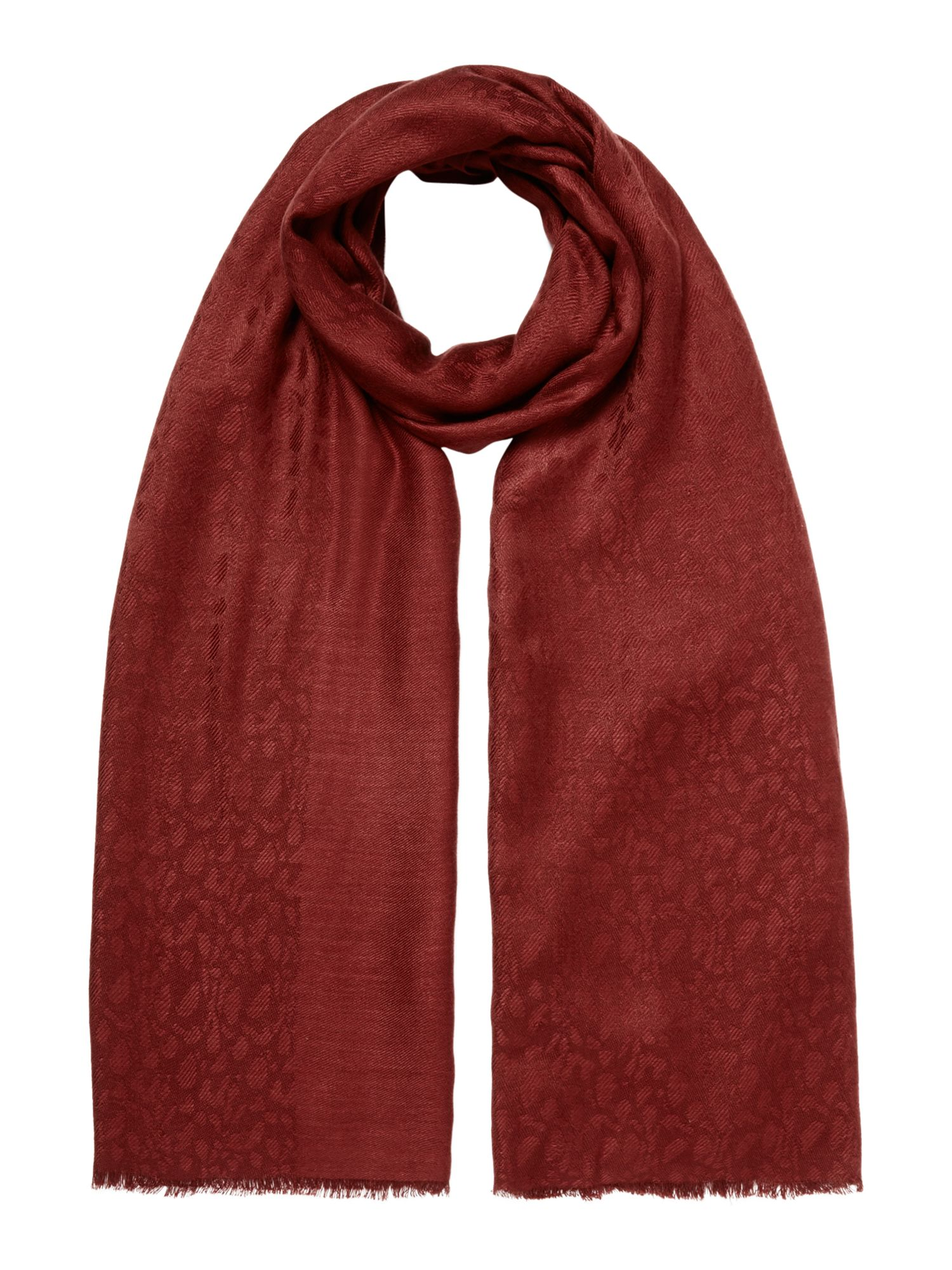 Linea Animal jacquard scarf, Rust