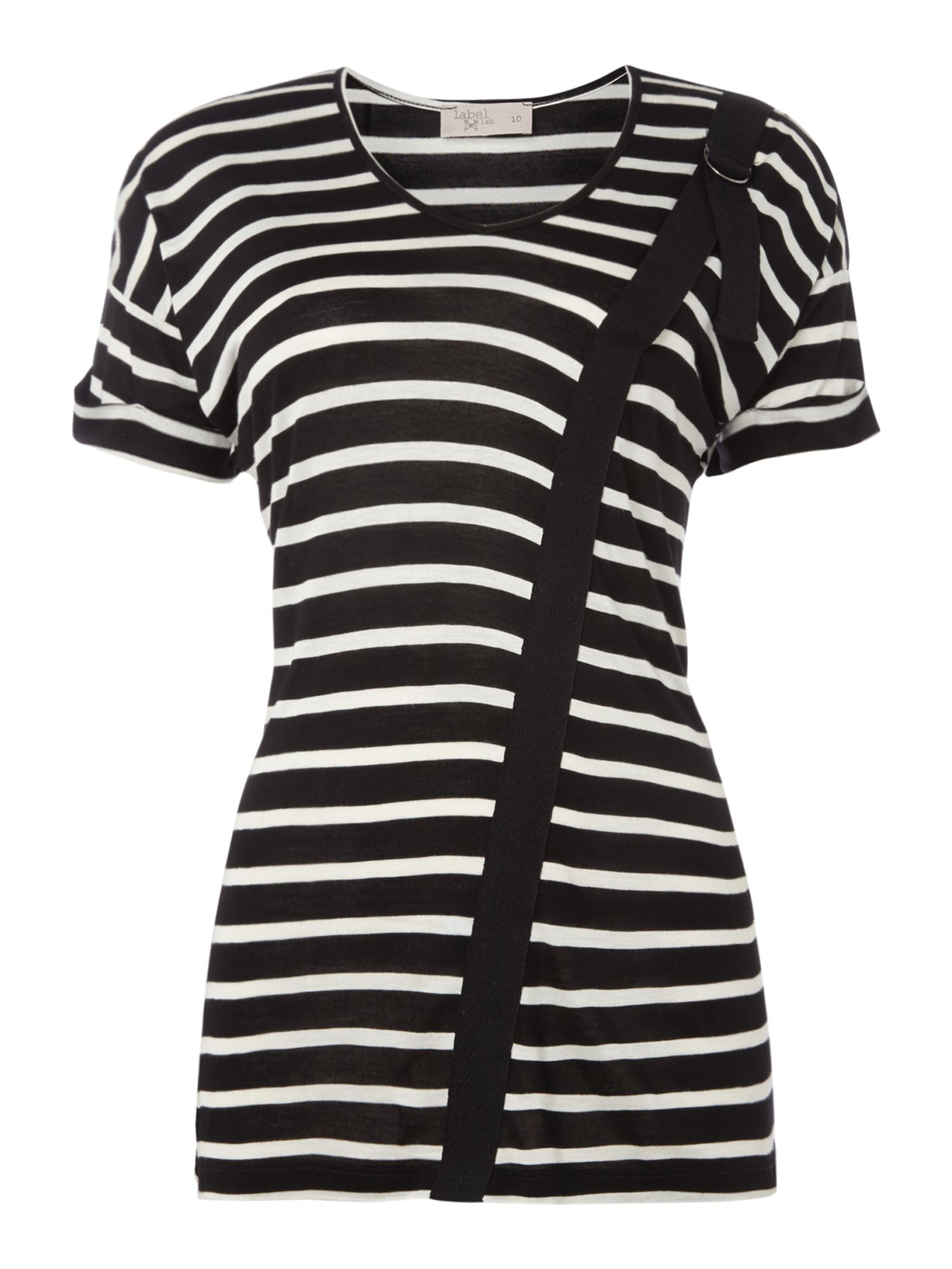 Label Lab D-Ring Detail Stripe Tee, Black/White
