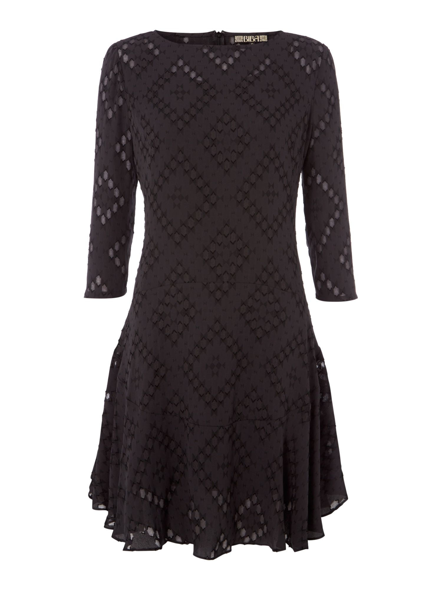 Biba Jacquard drop waist shift dress, Black