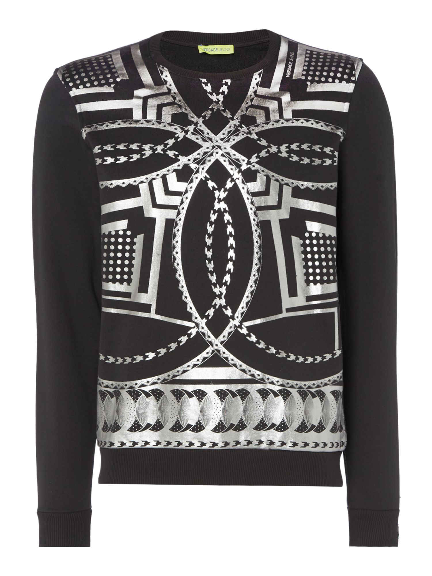 Men's Versace Jeans Body Geo Chain Print Crew Neck Sweatshirt, Black