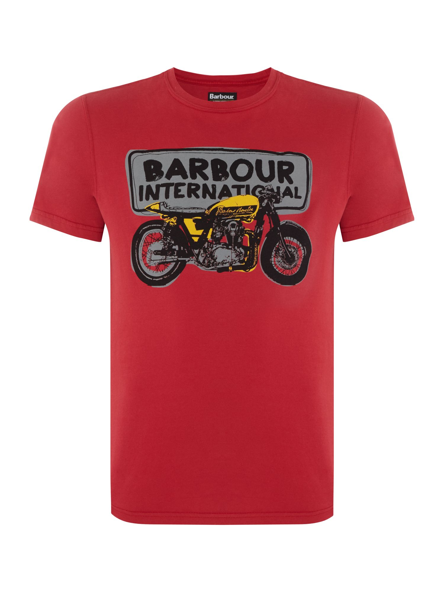 Men's Barbour Bike sketch print short sleeve t-shirt, Red