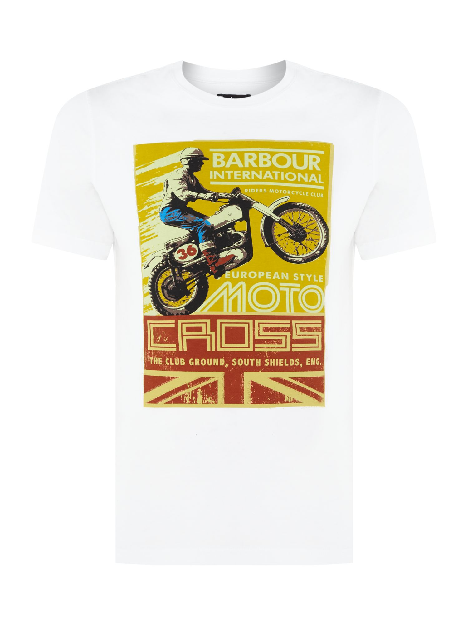 Men's Barbour Bike jump jack print short sleeve t-shirt, White
