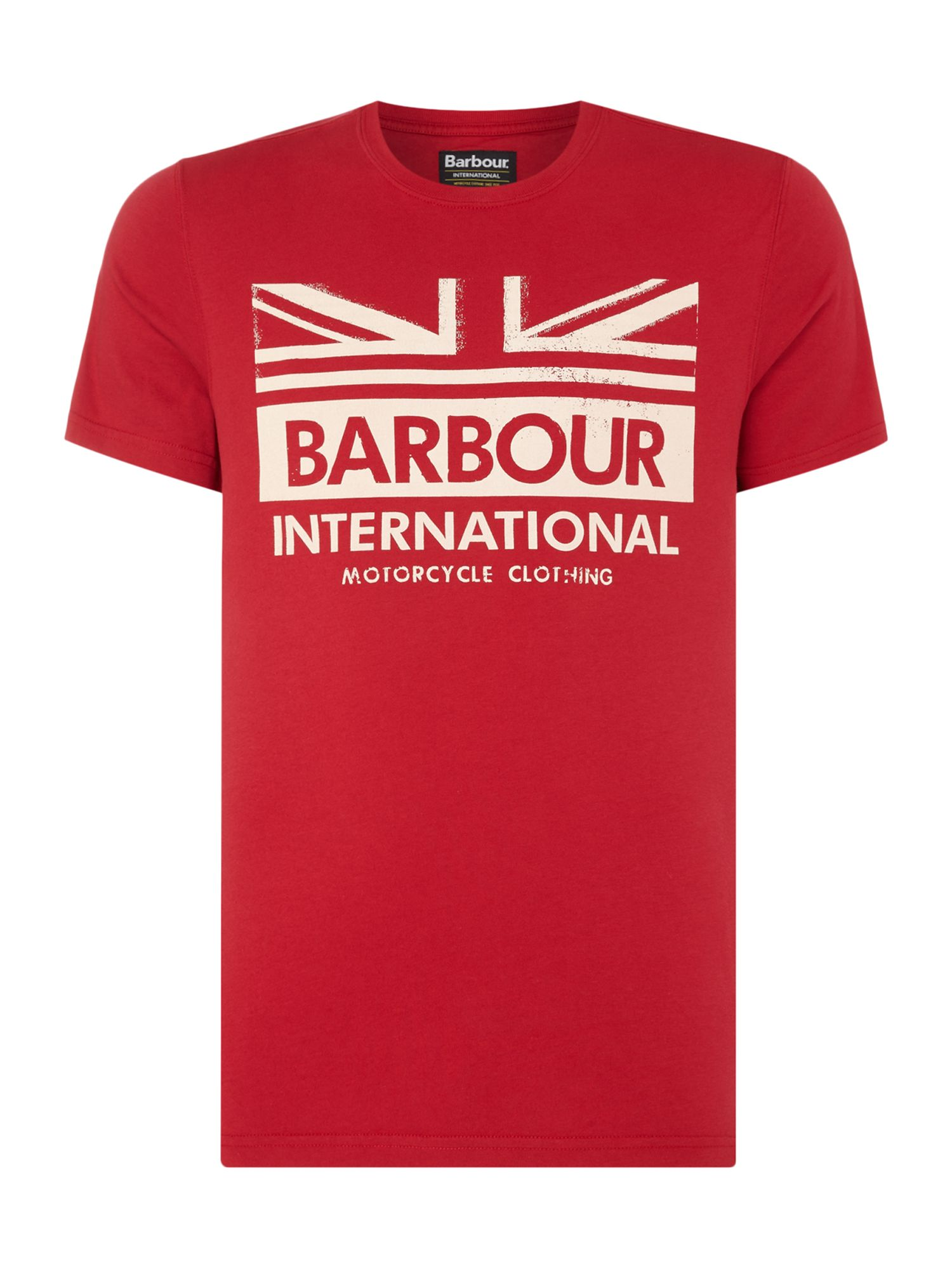 Men's Barbour One colour union jack print t-shirt, Red