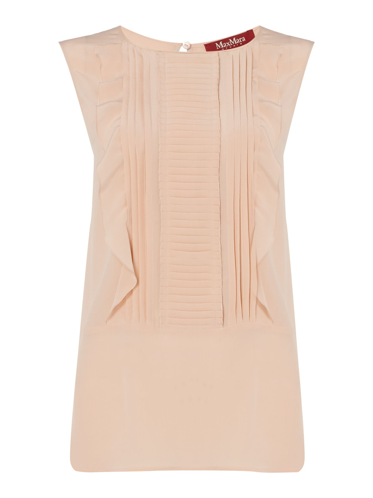 Max Mara Studio Diletta sleeveless ruffle front top, Pink