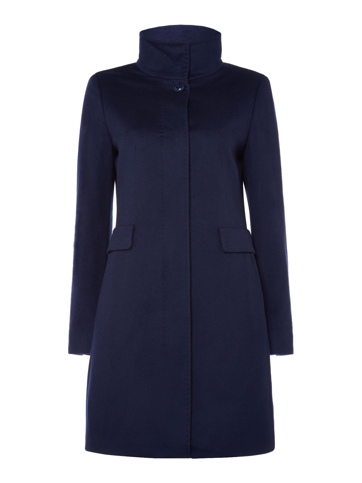 Max Mara Studio Agnese long sleeve funnel neck coat, Blue