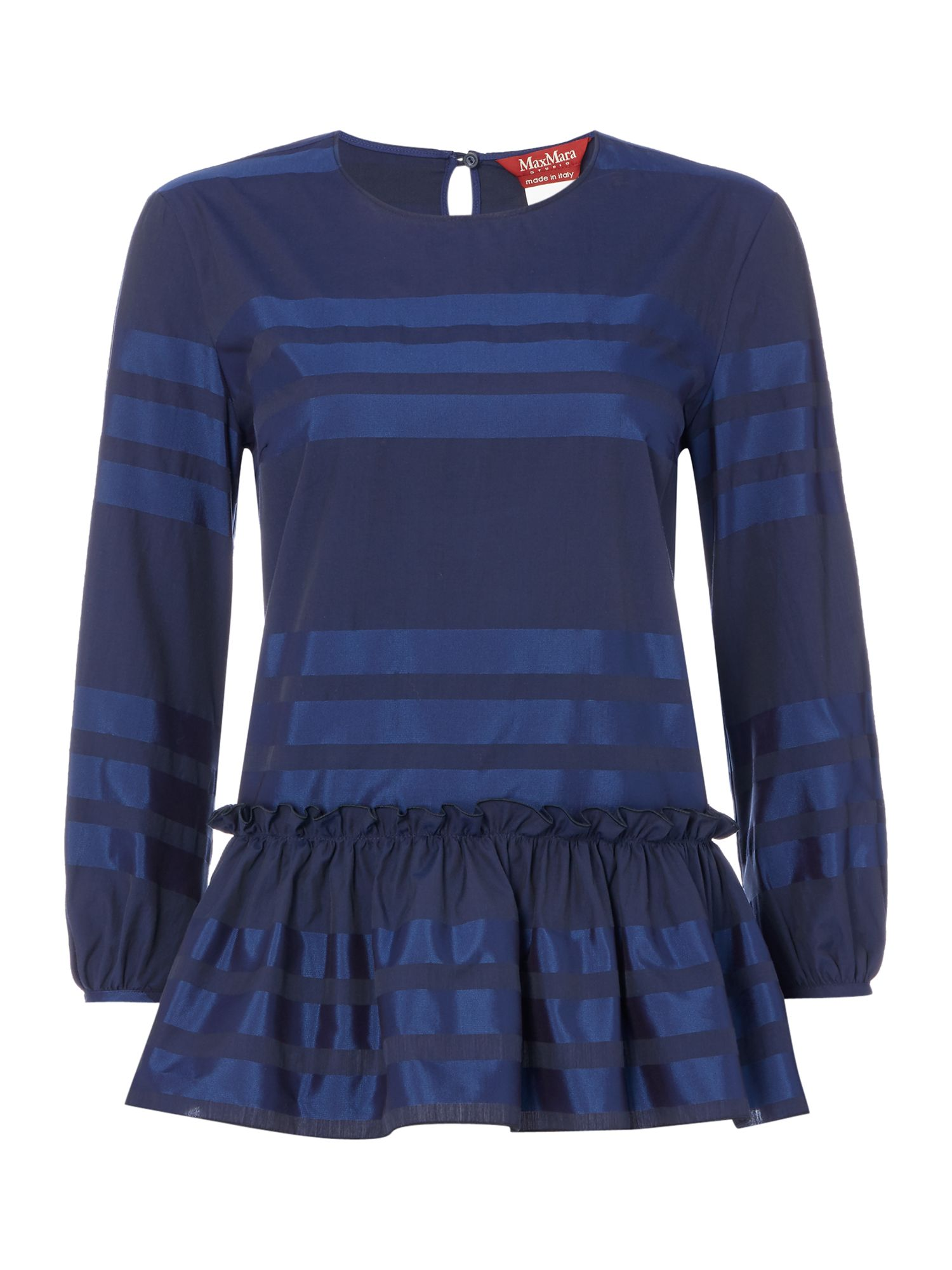 Max Mara Studio Zante striped blouse with ruffle detail, Blue