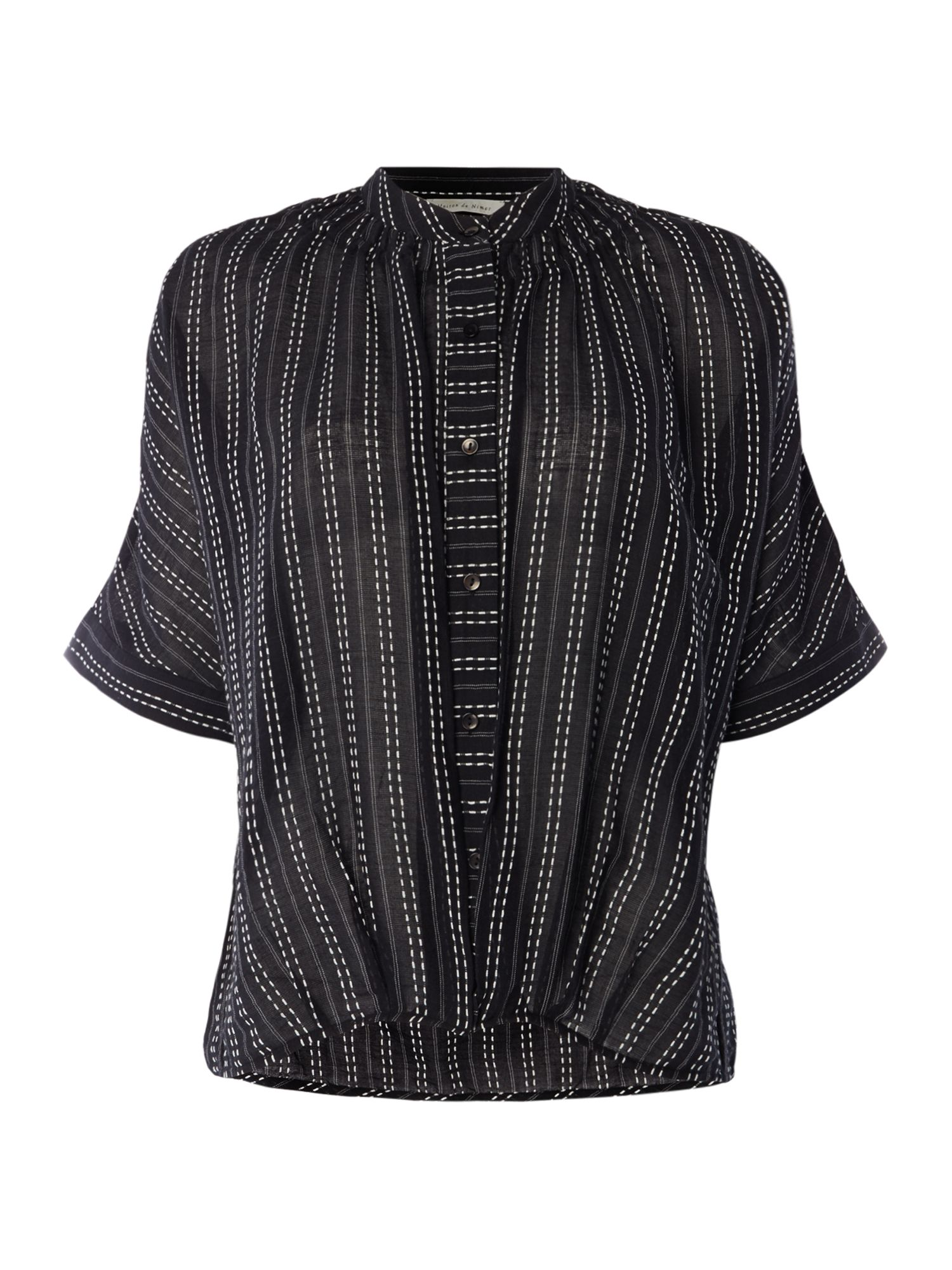 Maison De Nimes Stripe Embroidered Shirt, Black