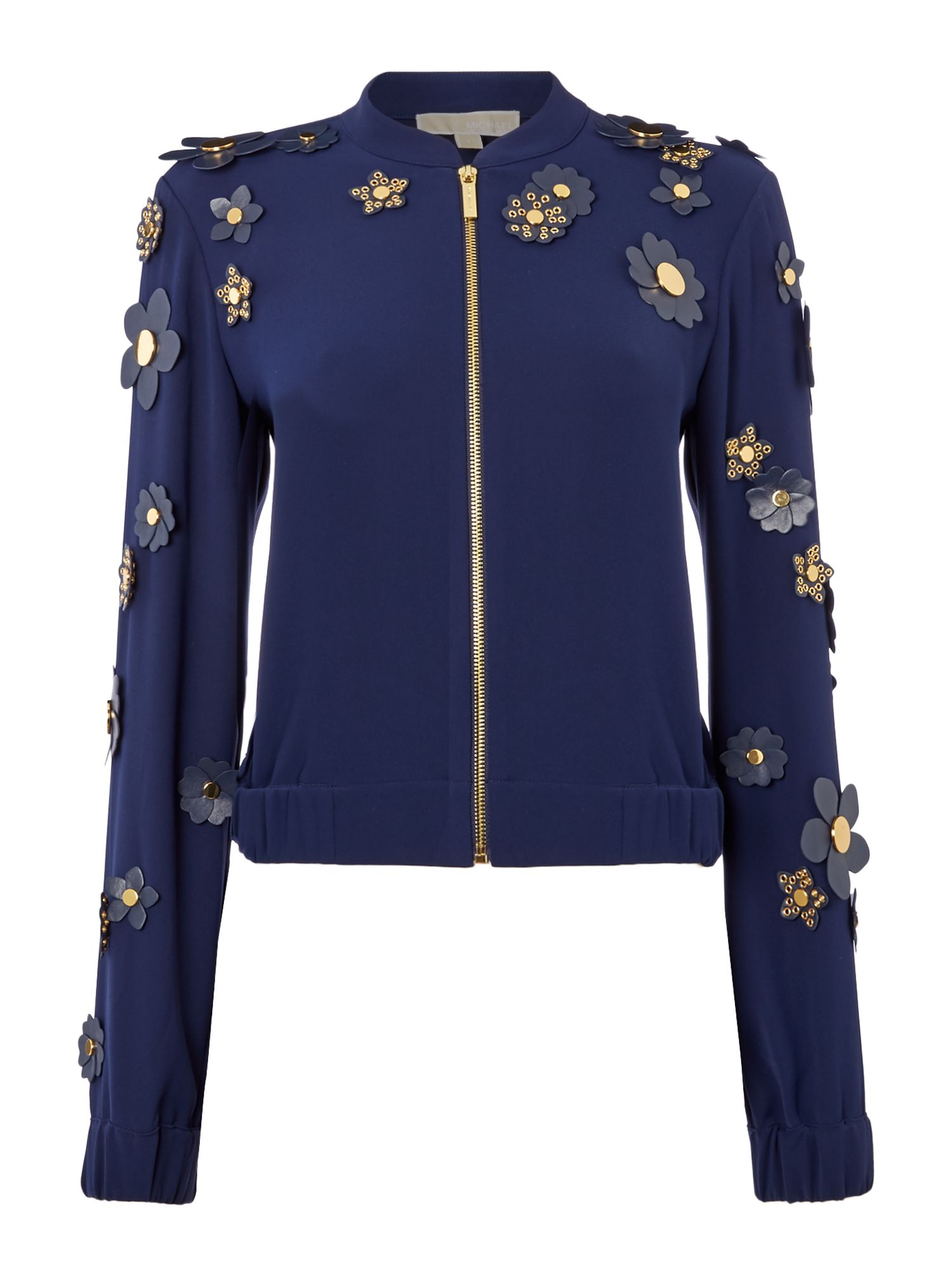 Michael Kors Floral cropped bomber jacket, Blue