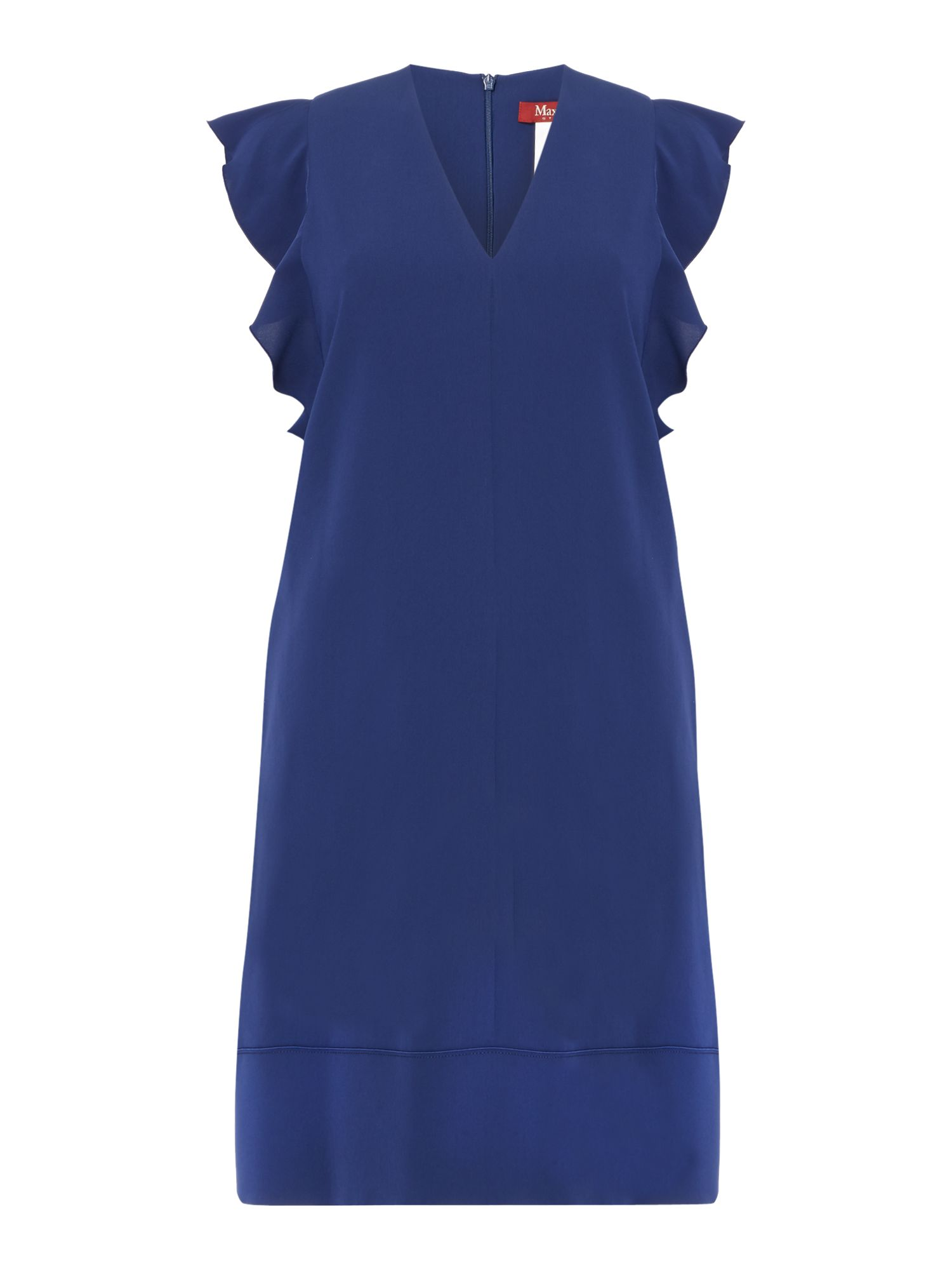 Max Mara Studio Trofeo ruffle sleeve shift dress, Blue