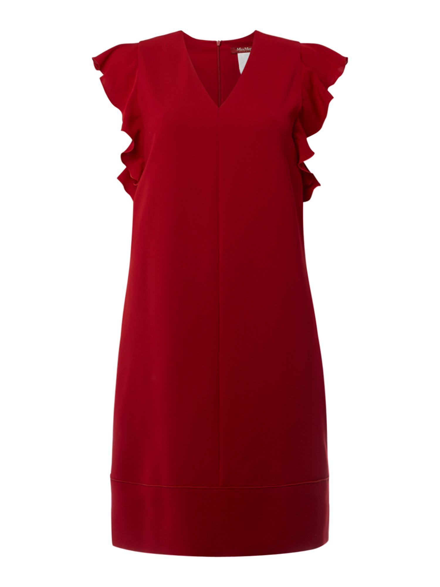 Max Mara Studio Trofeo ruffle sleeve shift dress, Red