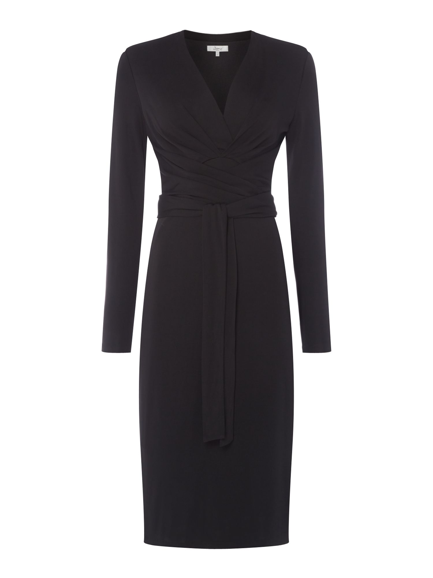 ISSA Kate Tie Wrap Dress, Black