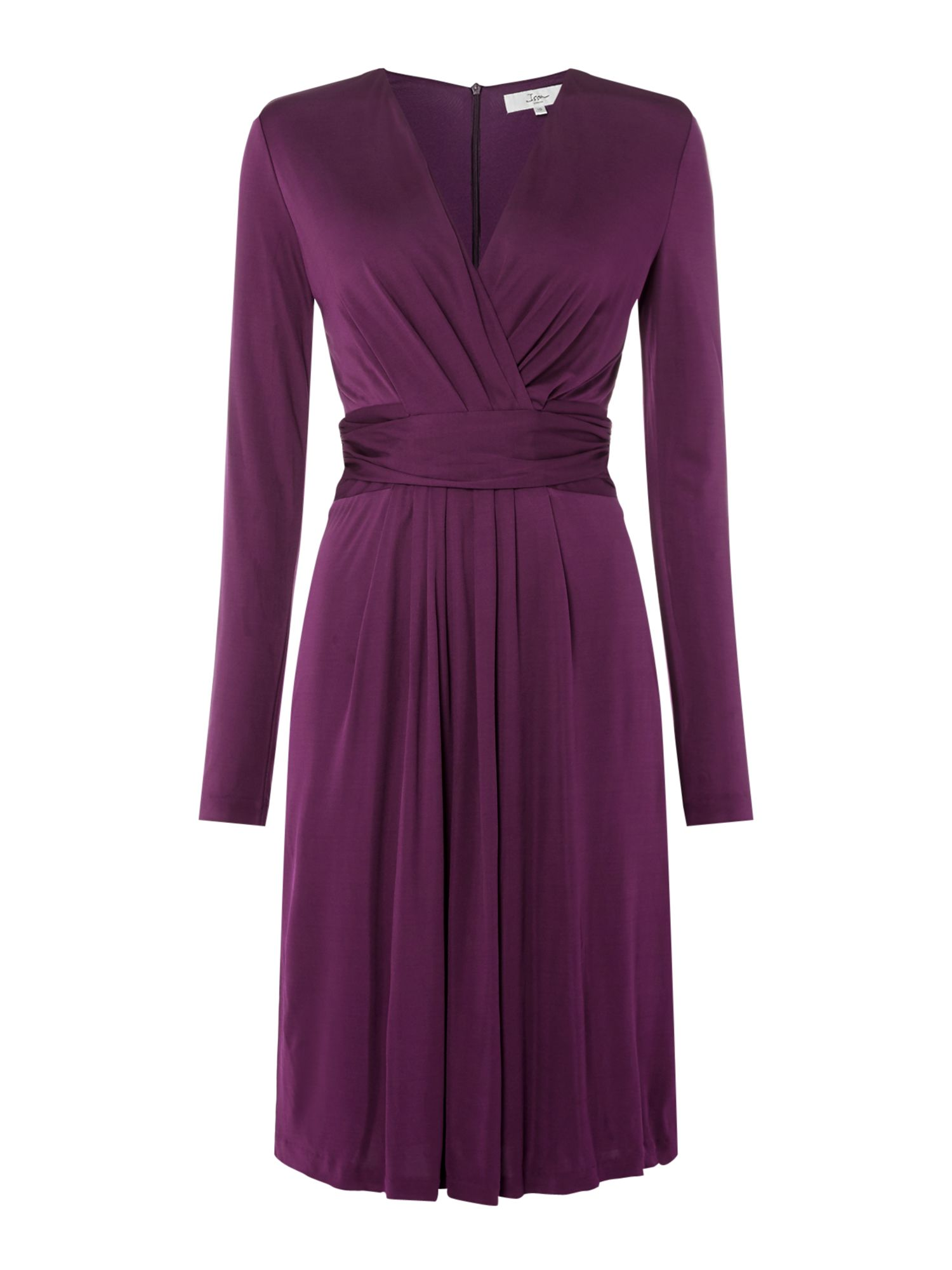 ISSA Darcy Pleat Detail Dress, Purple
