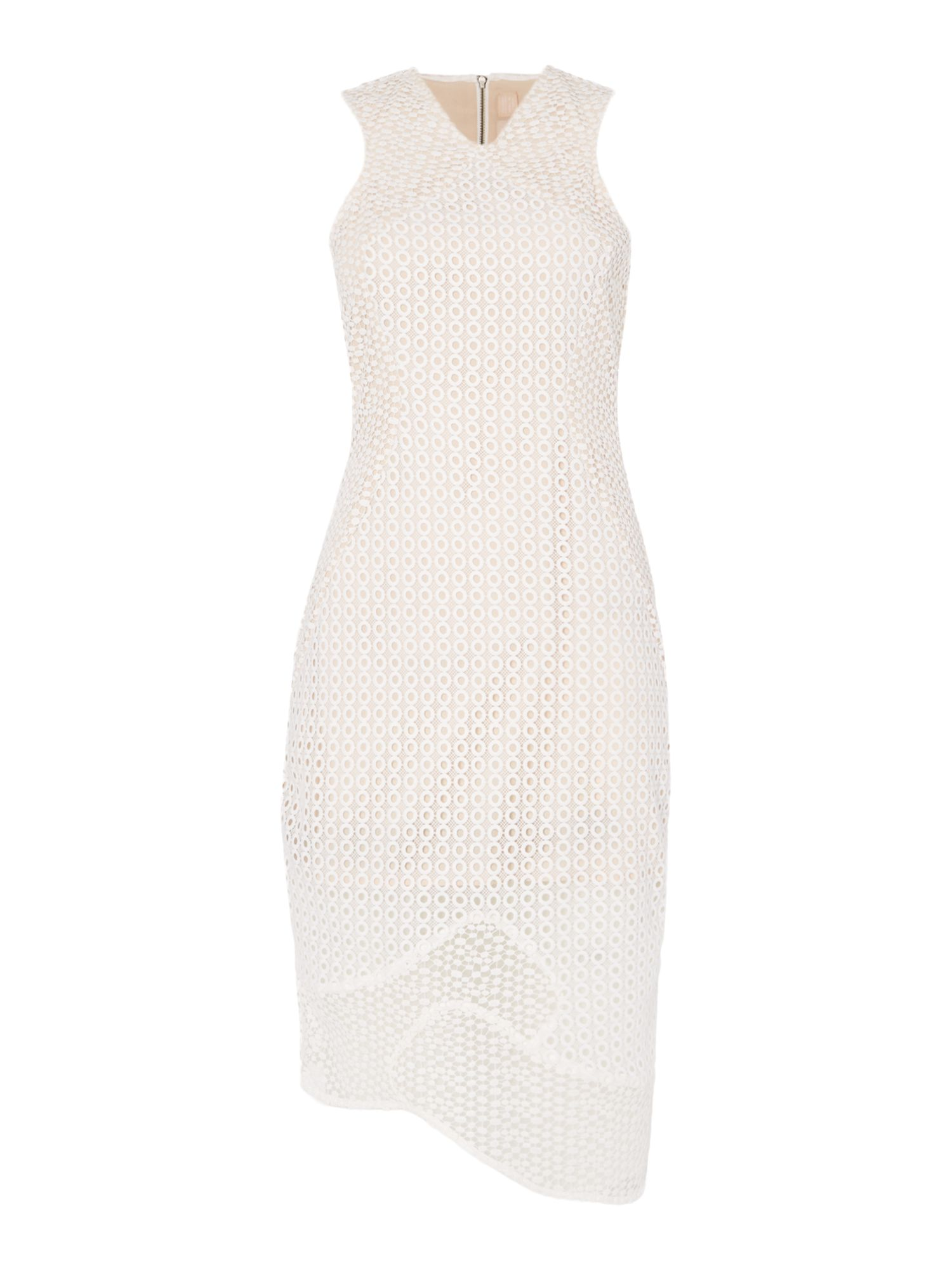 Keepsake Sleeveless textured midi bodycon dress, White