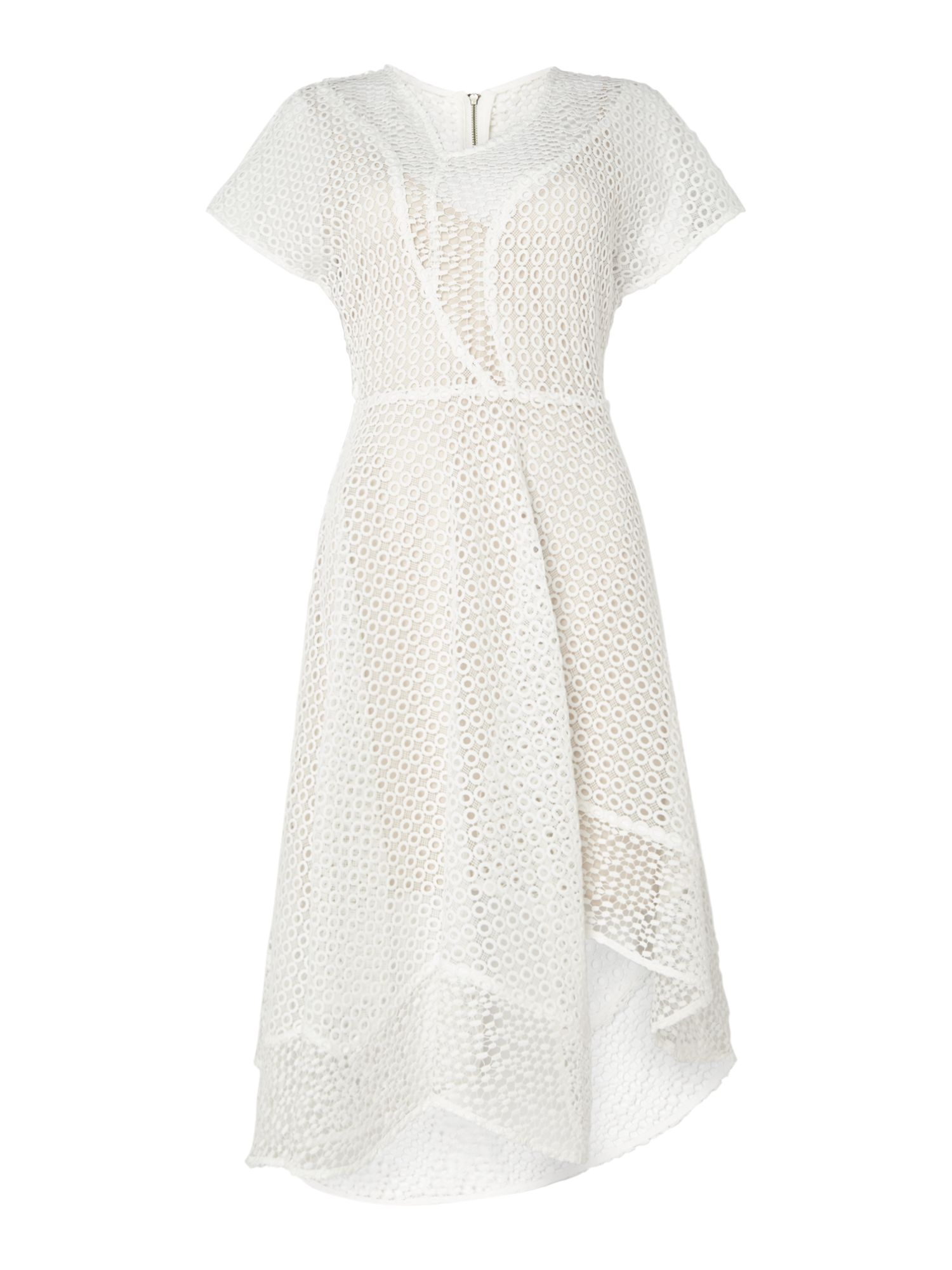 Keepsake Cap sleeved textured dress, White