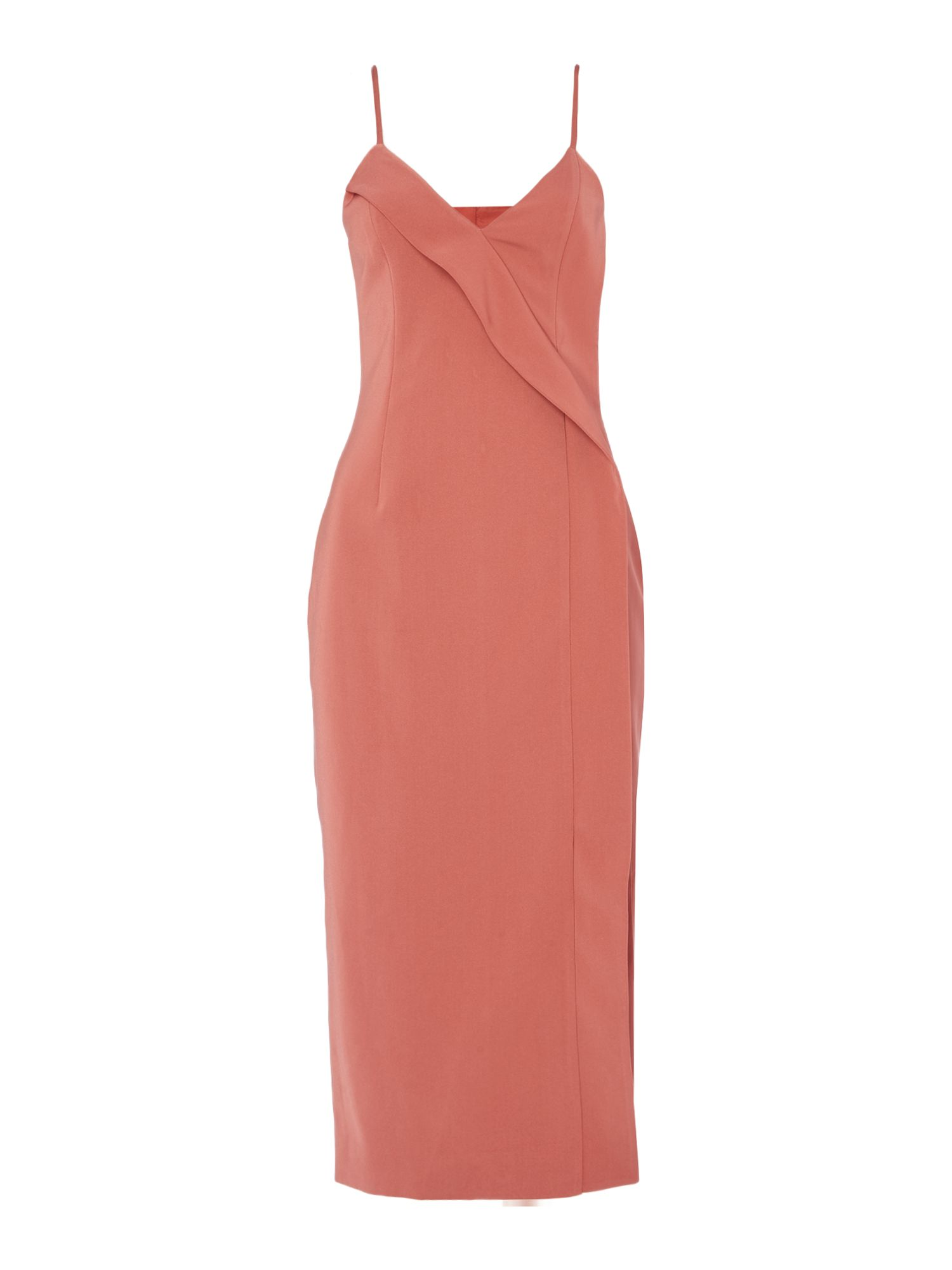 Keepsake Pleated midi bodycon dress, Salmon