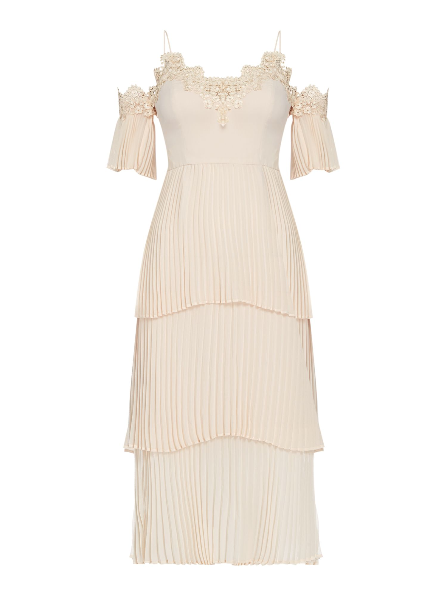 Keepsake Cold shoulder layered pleated dress, Nude