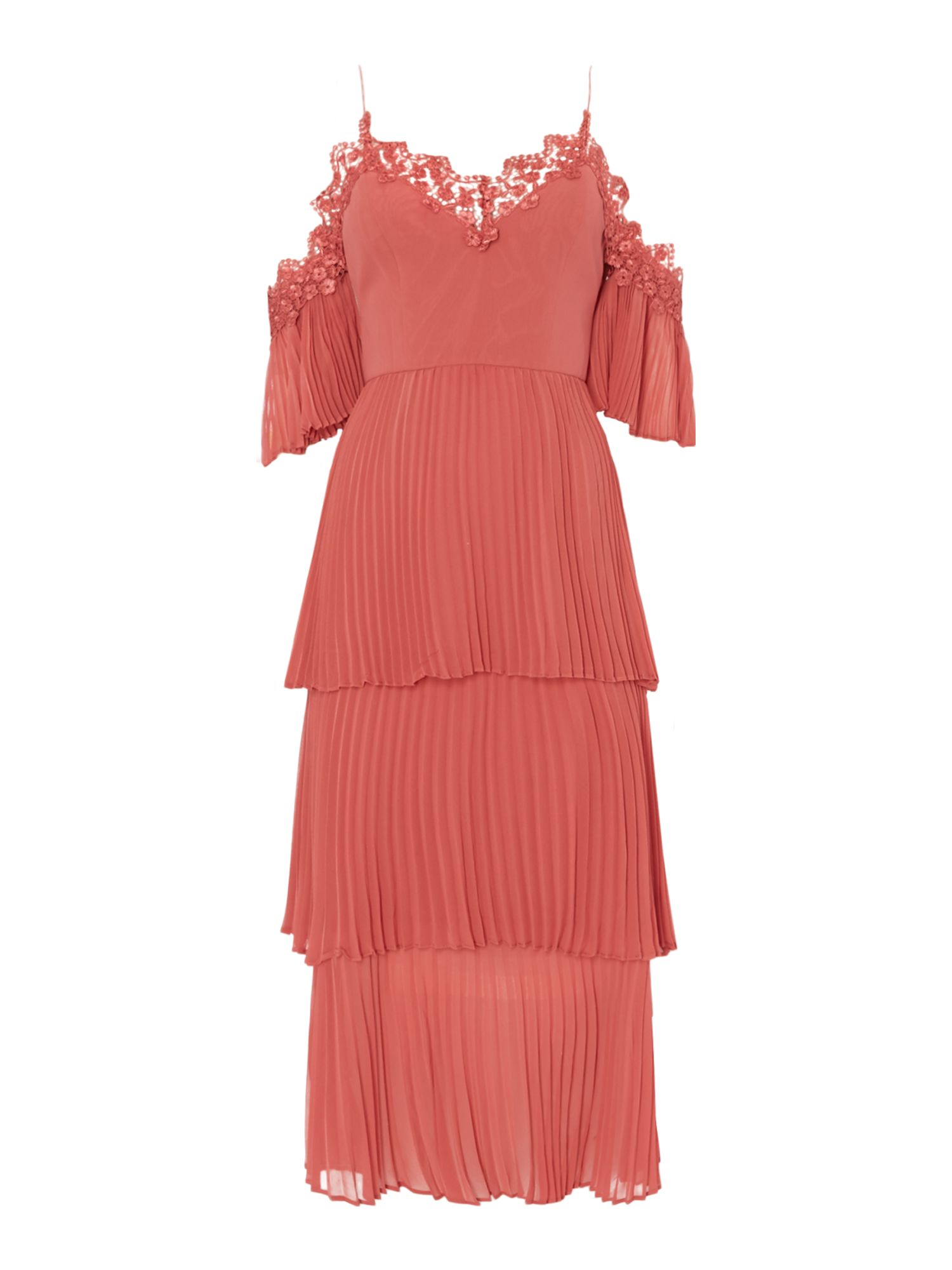 Keepsake Cold shoulder layered pleated dress, Salmon