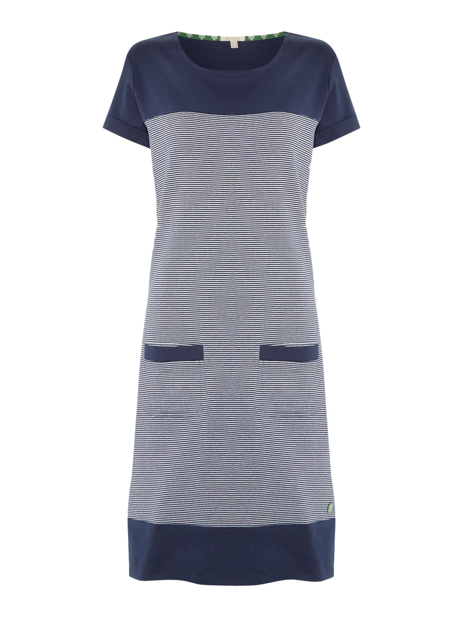Barbour Saltburn Knee Length Striped Jersey Dress, Blue